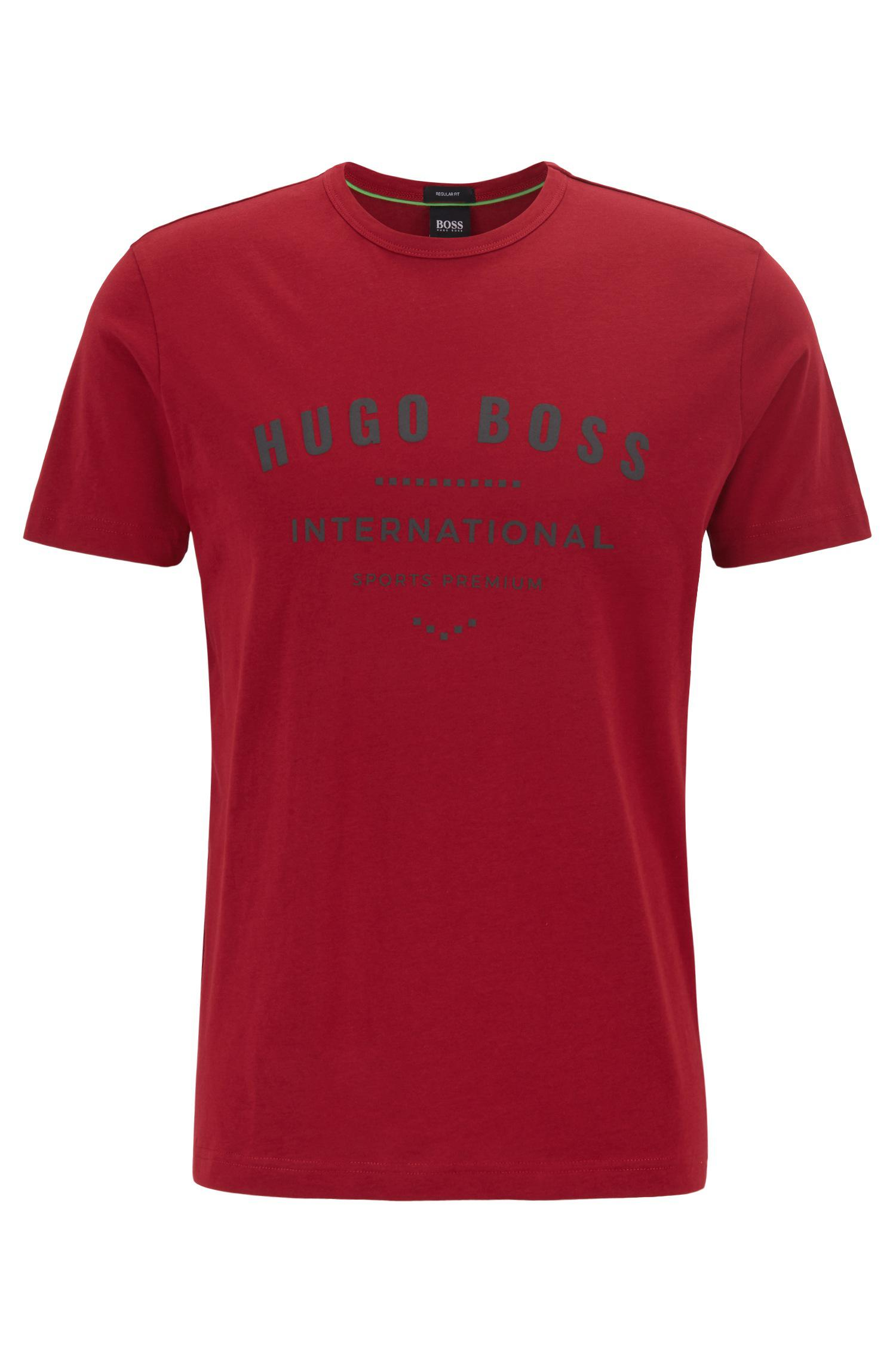 b90b85cc0 Lyst - BOSS Crew-neck T-shirt In Cotton With Metallic Artwork in Red ...