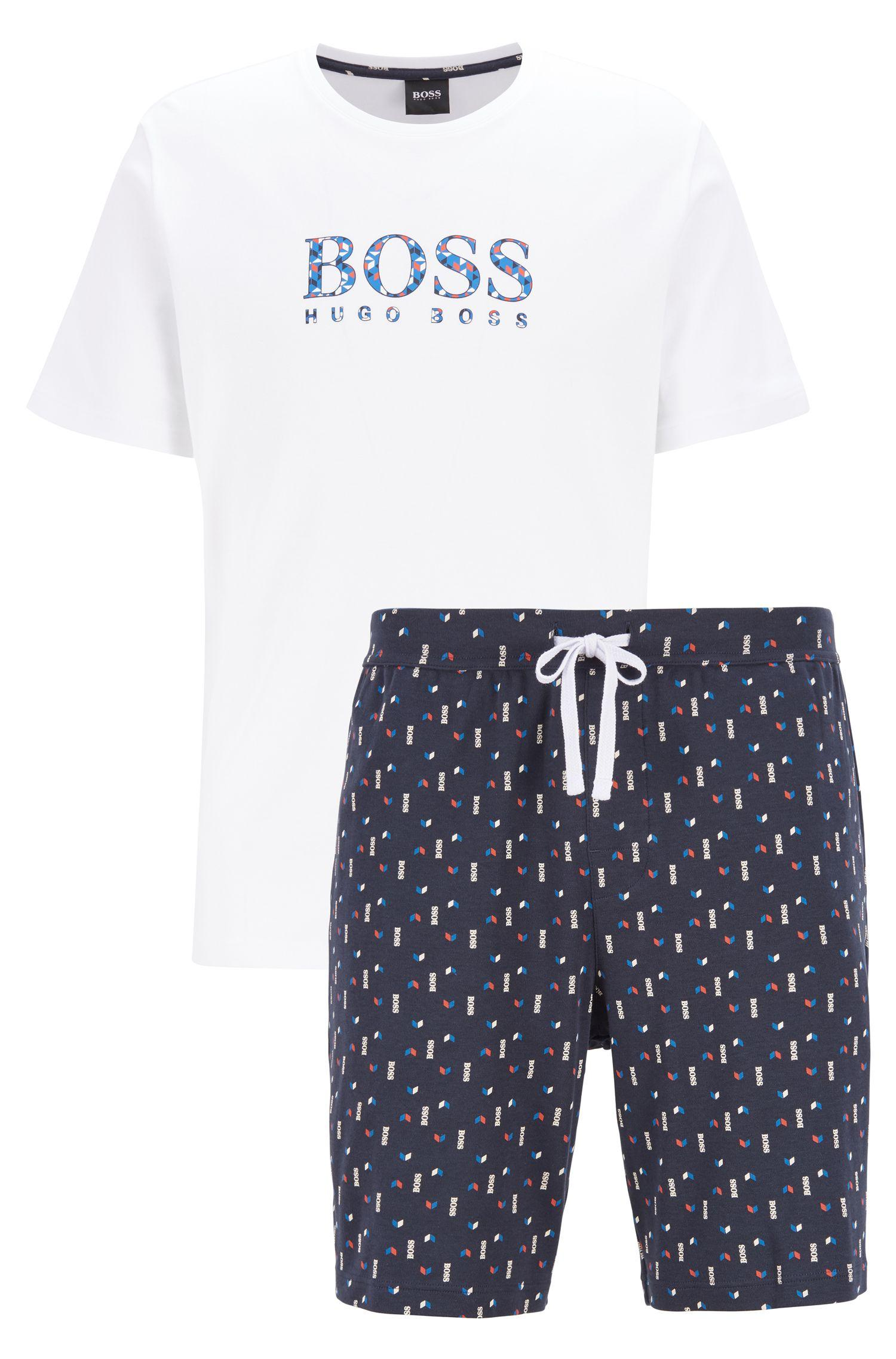 c7f6f212 BOSS Pyjama Set In Pure Cotton With Printed Shorts in Blue for Men ...