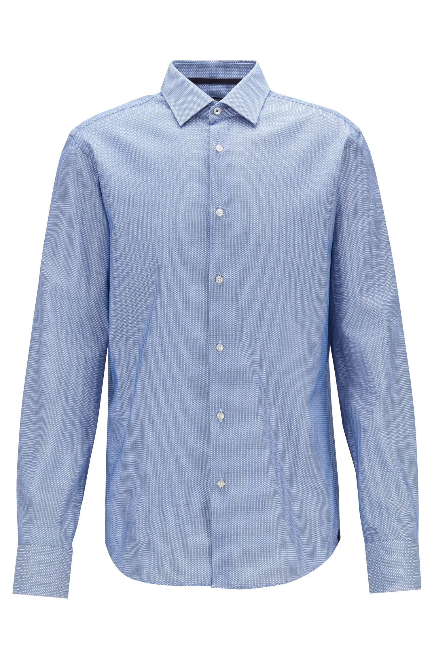 e5b938a80f71 BOSS Regular-fit Shirt In Cotton With Square Micro Structure in Blue ...
