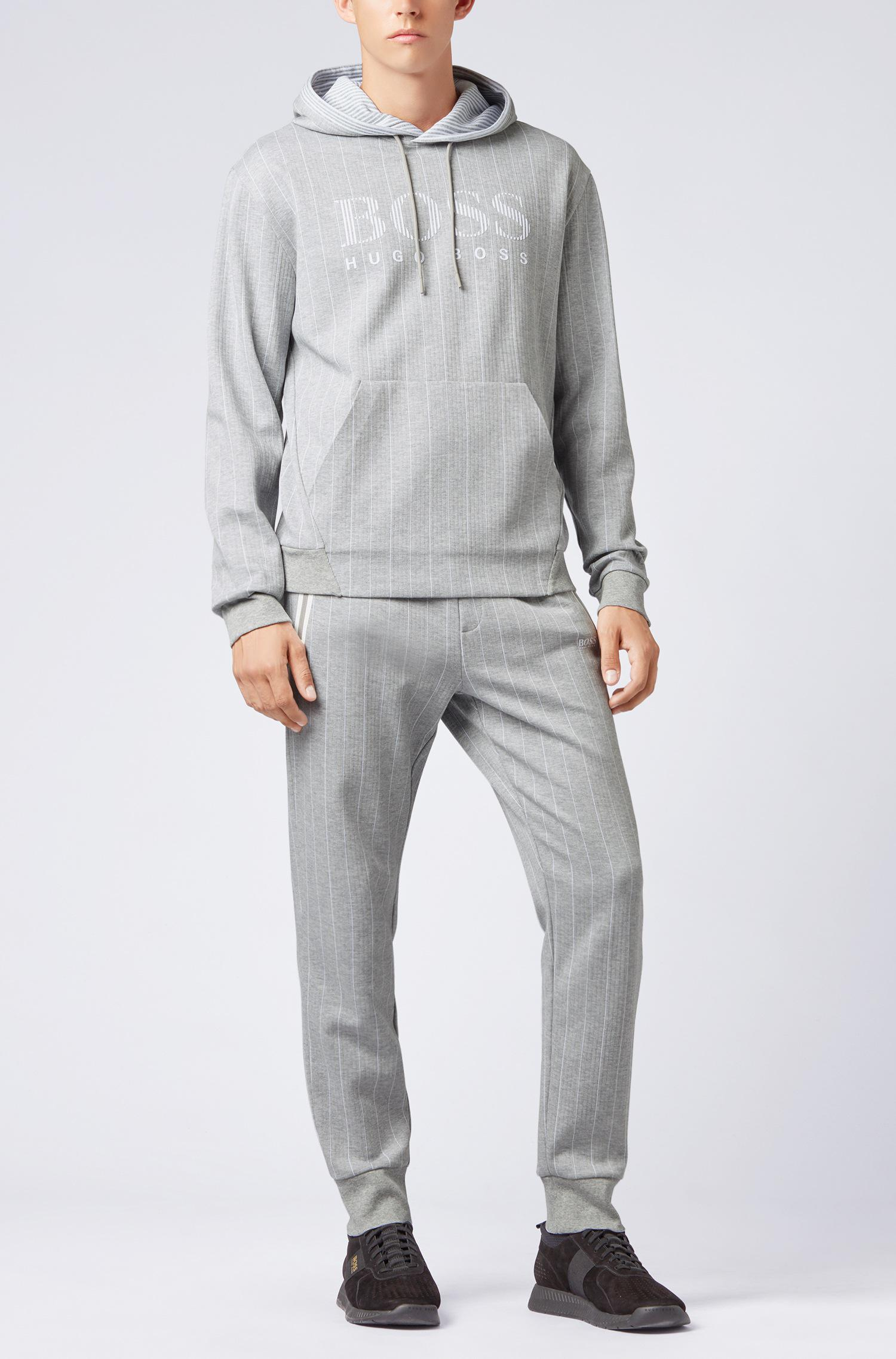 168dc53d417f BOSS Hooded Pinstripe Sweatshirt In Cotton With Flock-print Logo in ...