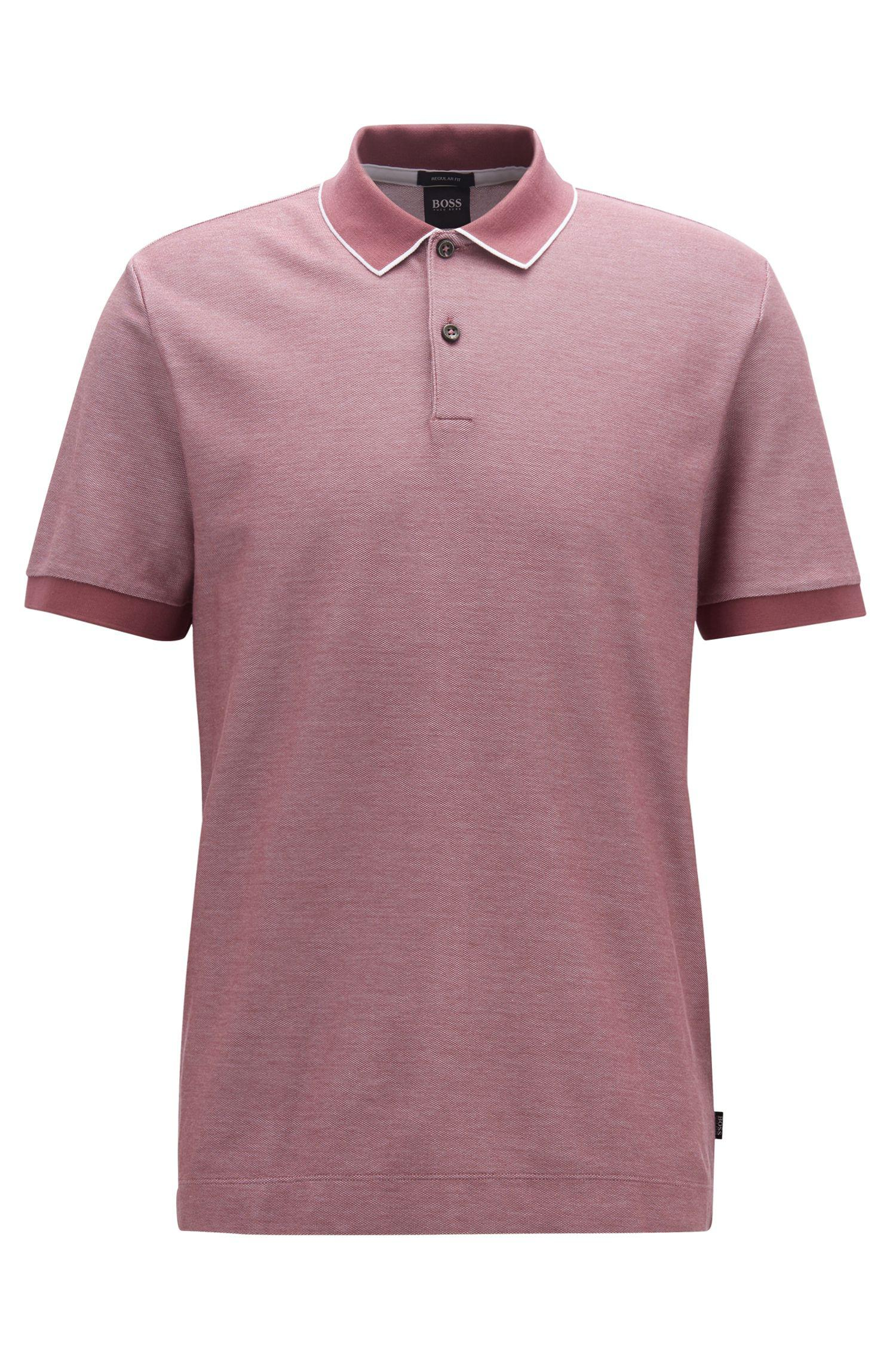 91a3fd416 BOSS - Purple Regular-fit Polo Shirt In Two-tone Honeycomb Cotton for Men.  View fullscreen