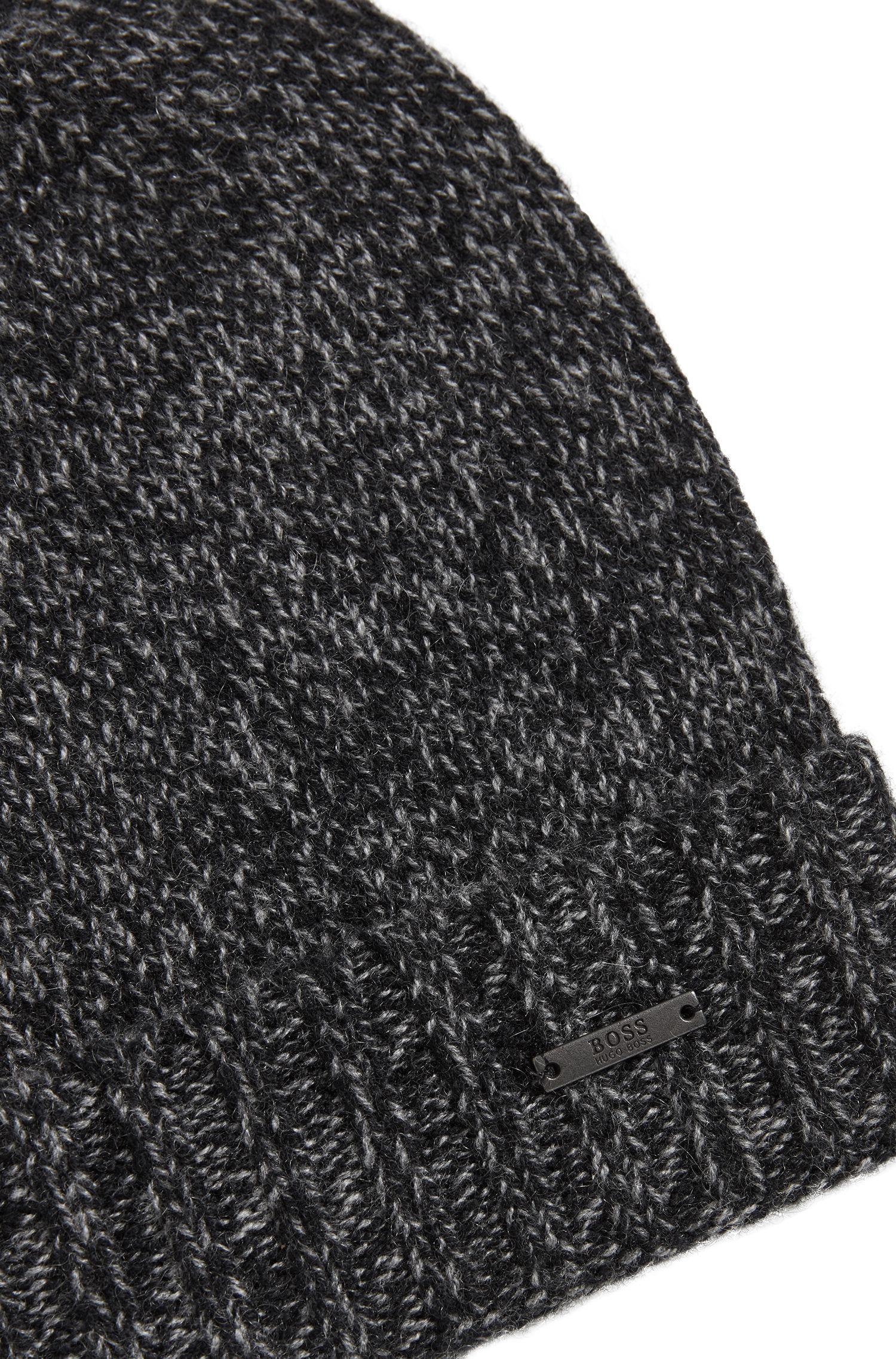 Lyst - BOSS Beanie Hat In Mouliné Cashmere in Black for Men e0e8310e9ab1