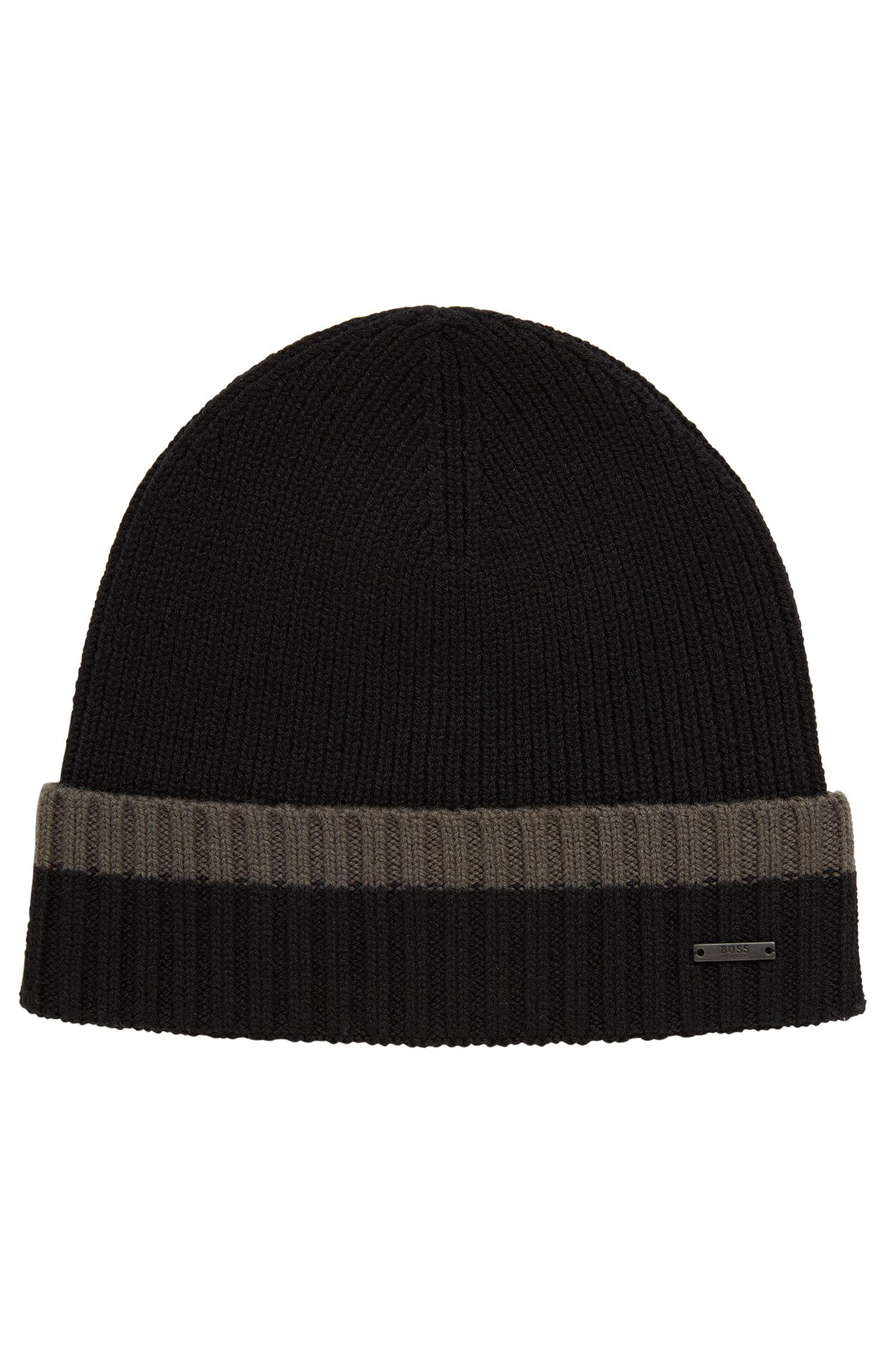 6188b6737bb BOSS Beanie Hat In Virgin Wool With Contrast Turn-up in Green for ...