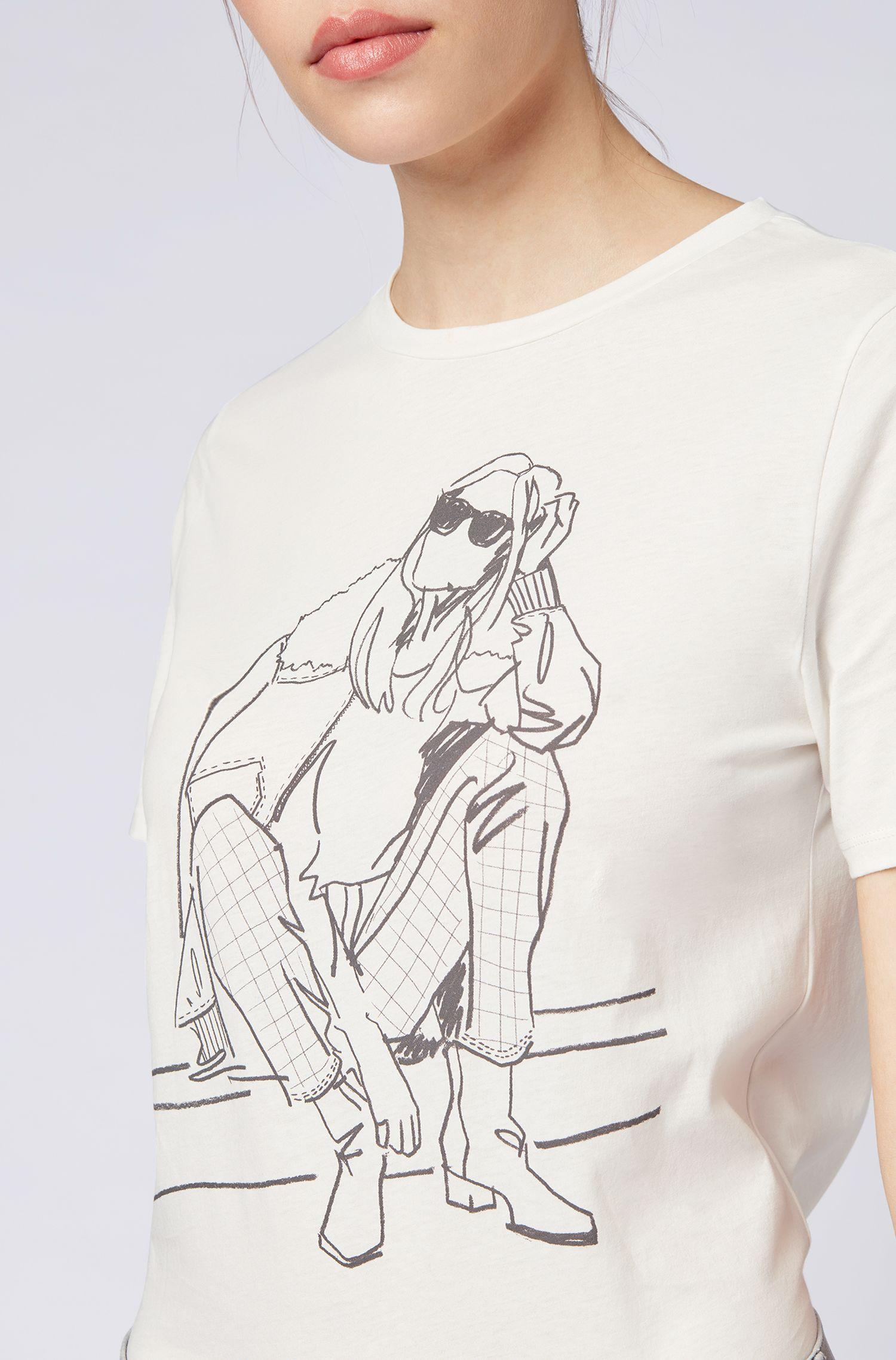 17884f79c BOSS - Natural Boxy-fit T-shirt In Cotton Jersey With Hand-drawn. View  fullscreen