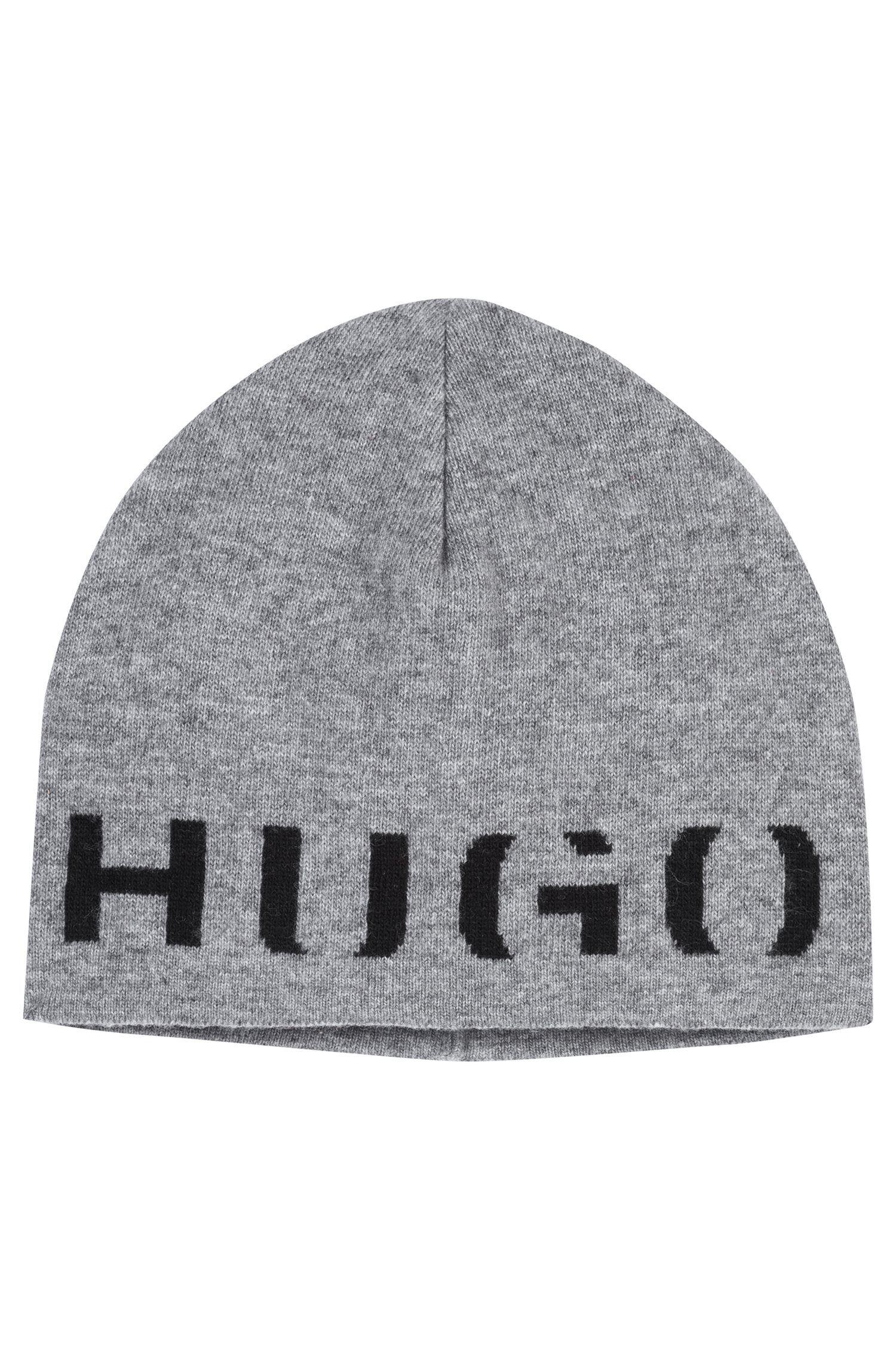 9e089740 HUGO - Gray Logo Beanie Hat In A Technical Blend With Cashmere for Men -  Lyst