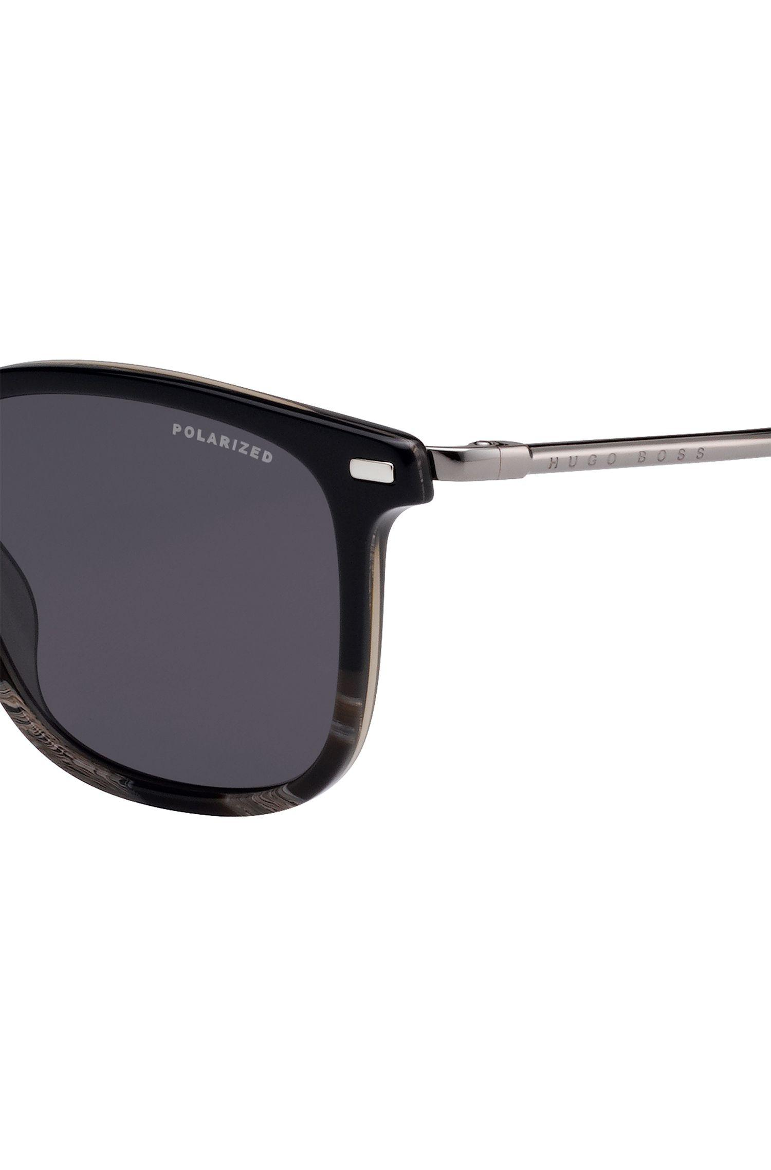 972df5c4ed7 BOSS - Polarized Sunglasses With Black-and-gray-horn Acetate Frames for Men.  View fullscreen