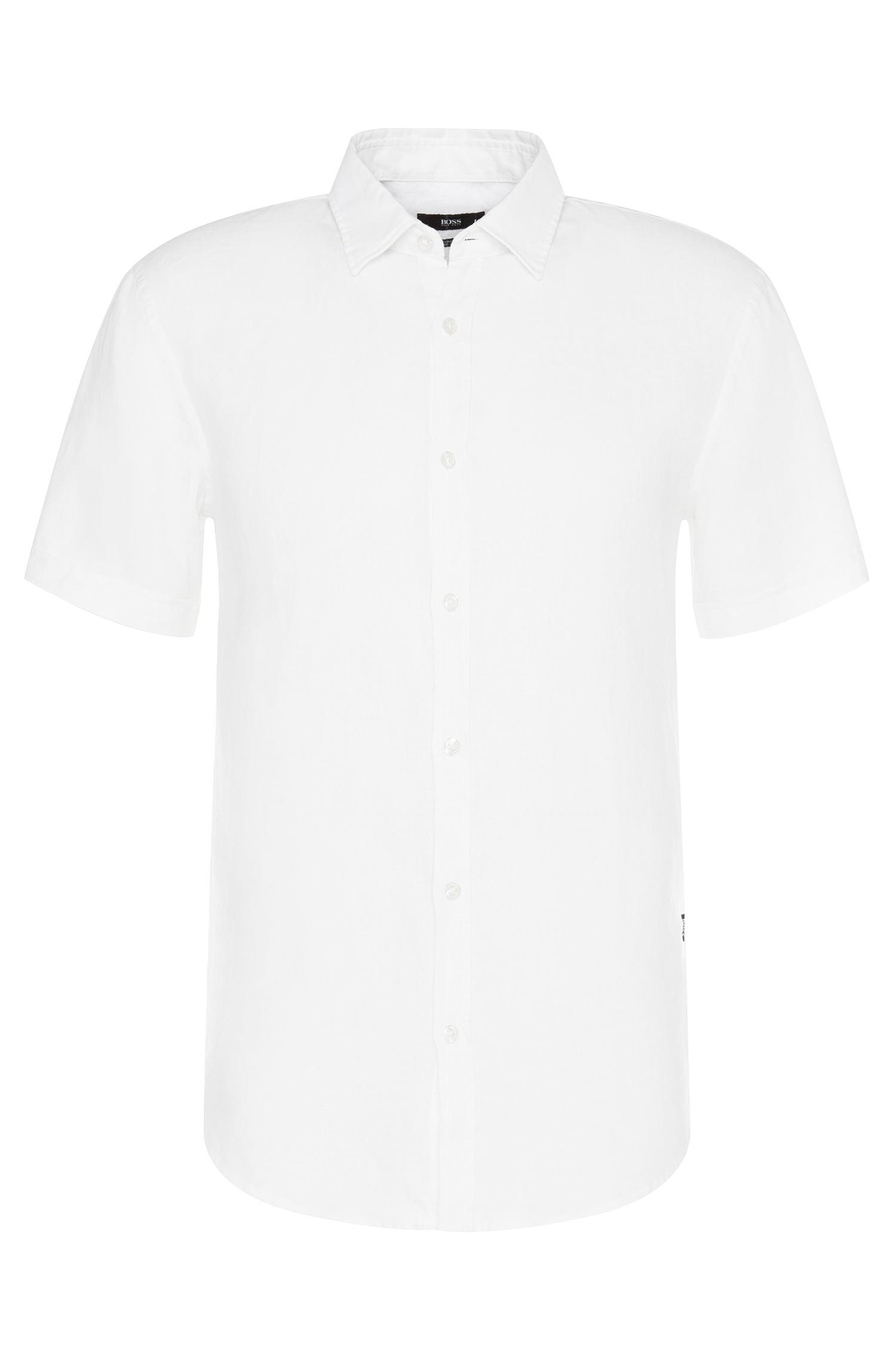 Boss 39 ronn 39 slim fit linen button down shirt in white for Slim fit white linen shirt