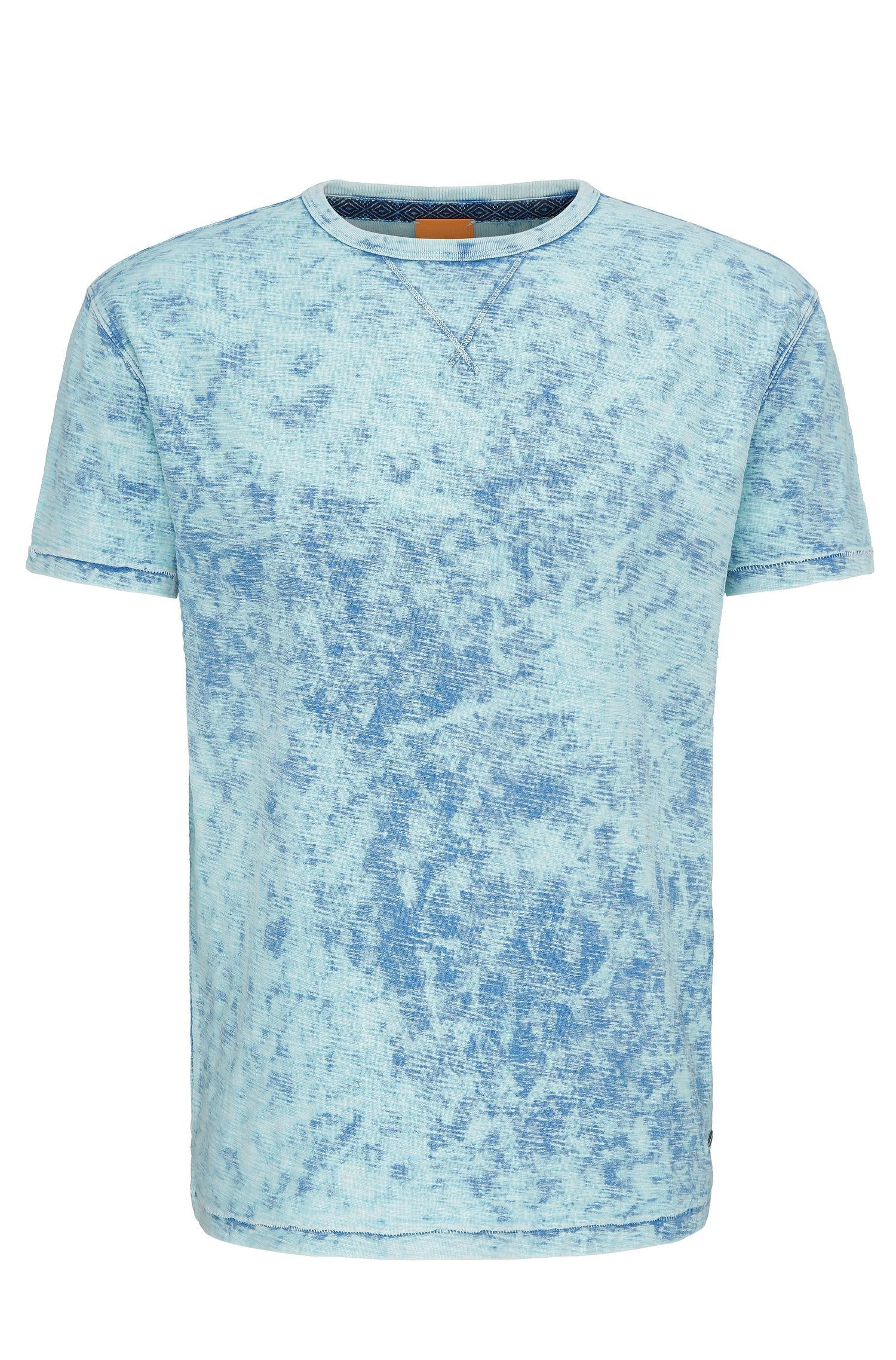 Boss orange 39 tay 39 cotton patterned t shirt in blue for for Patterned dress shirts for men