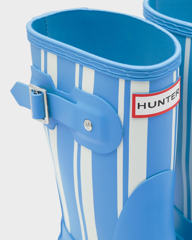 HUNTER Rubber Original Garden Stripe Short Wellington Boots in Blue