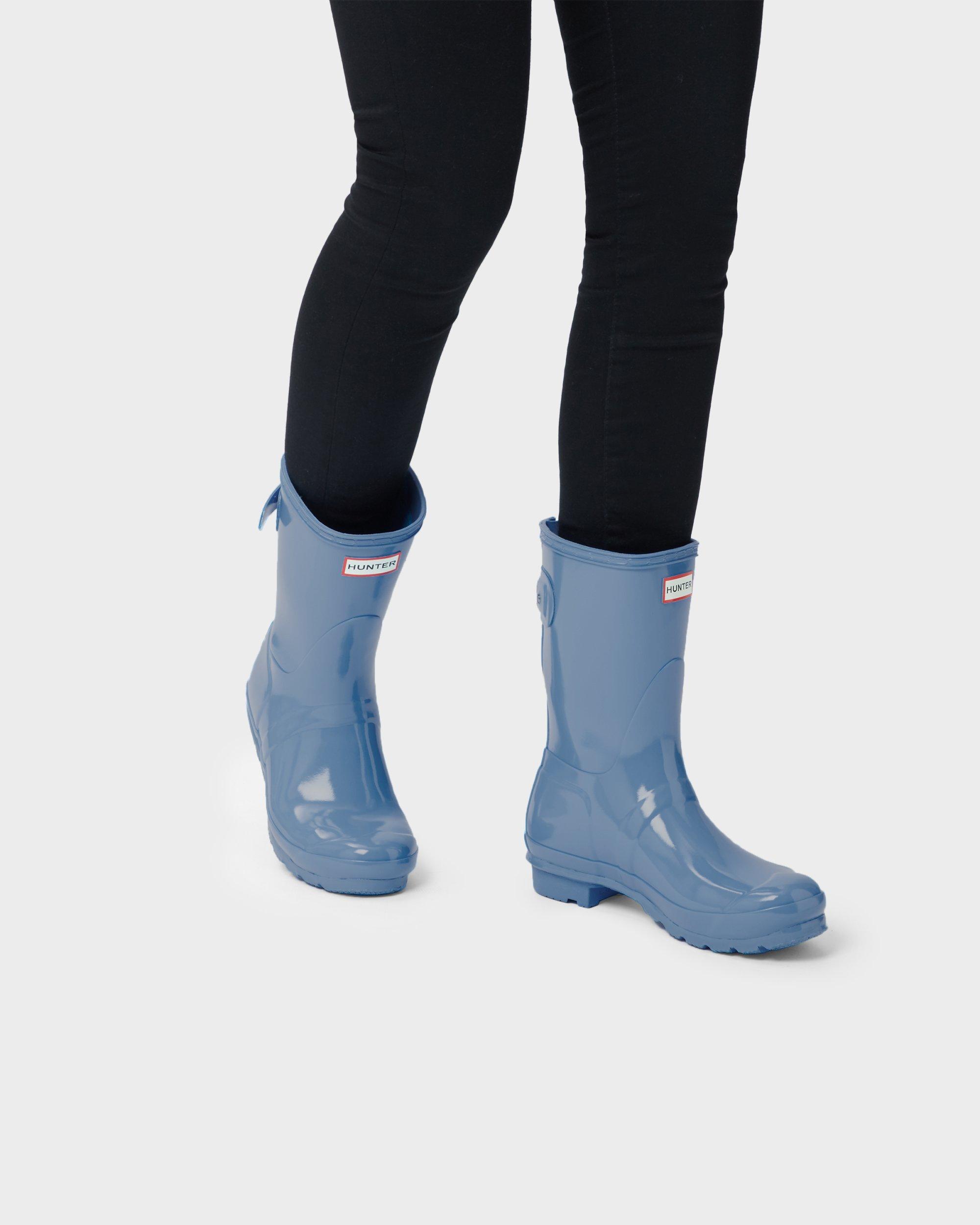 0231954b63f Blue Women's Original Short Back Adjustable Gloss Wellington Boots