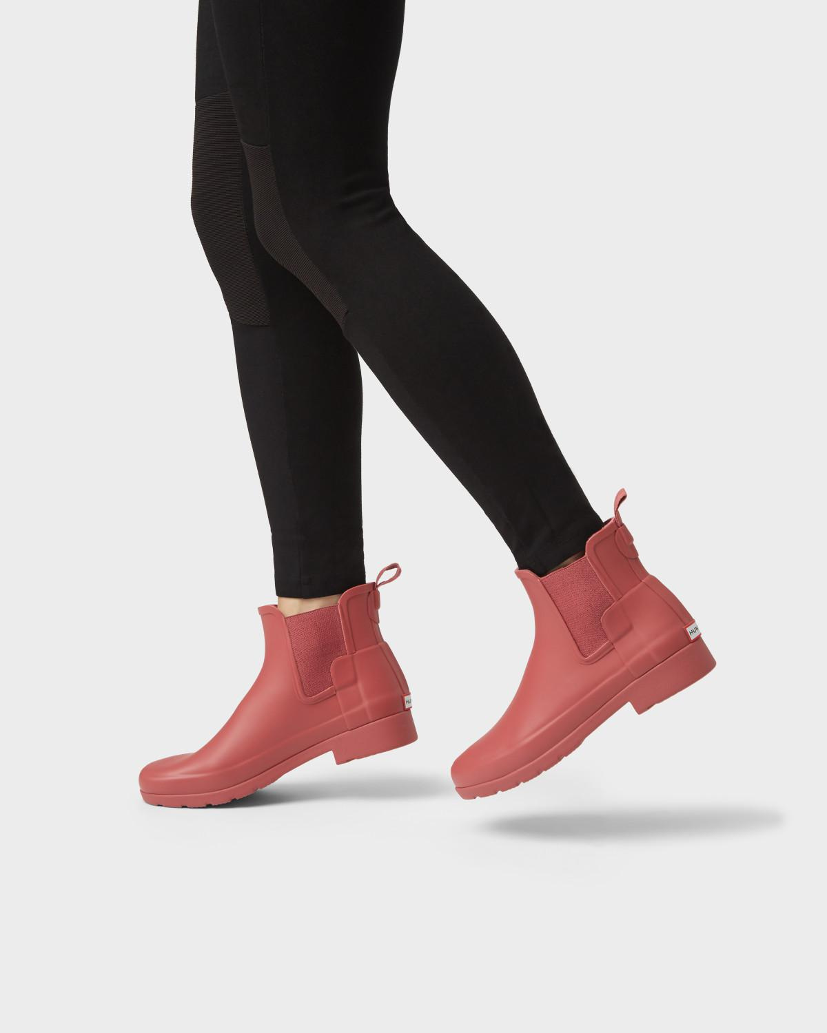 Hunter Rubber Women S Refined Slim Fit Chelsea Boots In Rose Red Lyst From flat to heeled styles and black chelsea boots that go with your entire 'drobe, keep your look current with suede, chunky and studded chelsea. women s refined slim fit chelsea boots