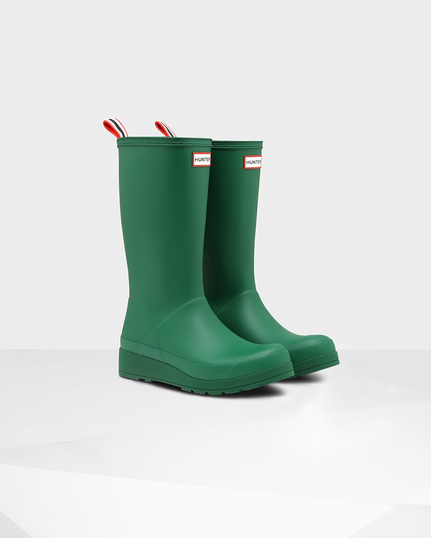 HUNTER Rubber Women's Original Play Tall Rain Boots in Green