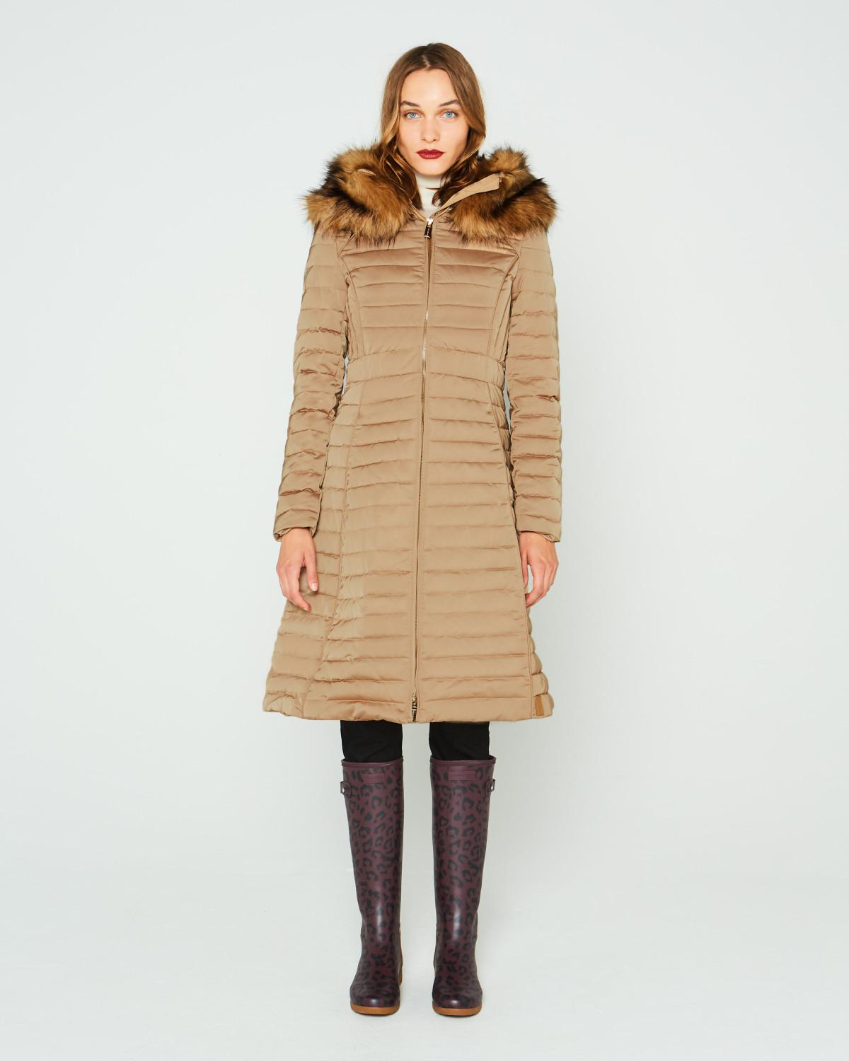 09c250338 Hunter Natural Refined Down Coat With Faux Fur Hood
