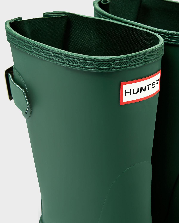 HUNTER Rubber Original Short Back Adjustable Rain Boots in Green