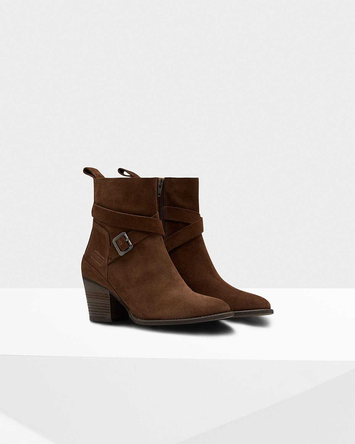 HUNTER Original Refined Suede Ankle Boots in Chocolate (Brown)