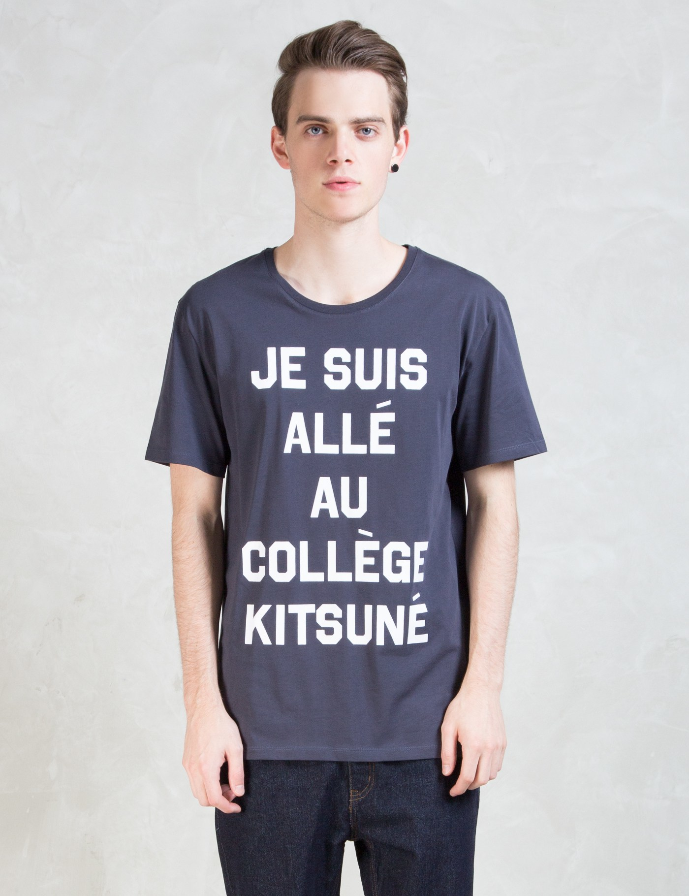 maison kitsun je suis alle t shirt in blue for men lyst. Black Bedroom Furniture Sets. Home Design Ideas