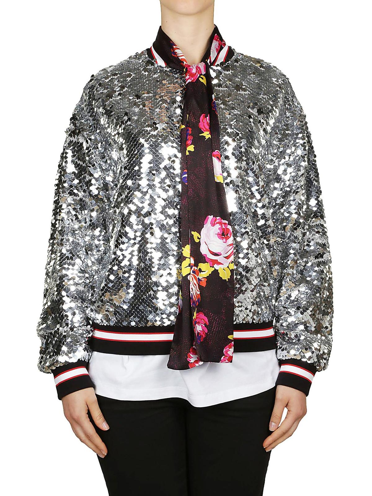 MSGM Floral Scarf Sequined Bomber Jacket in Silver ...