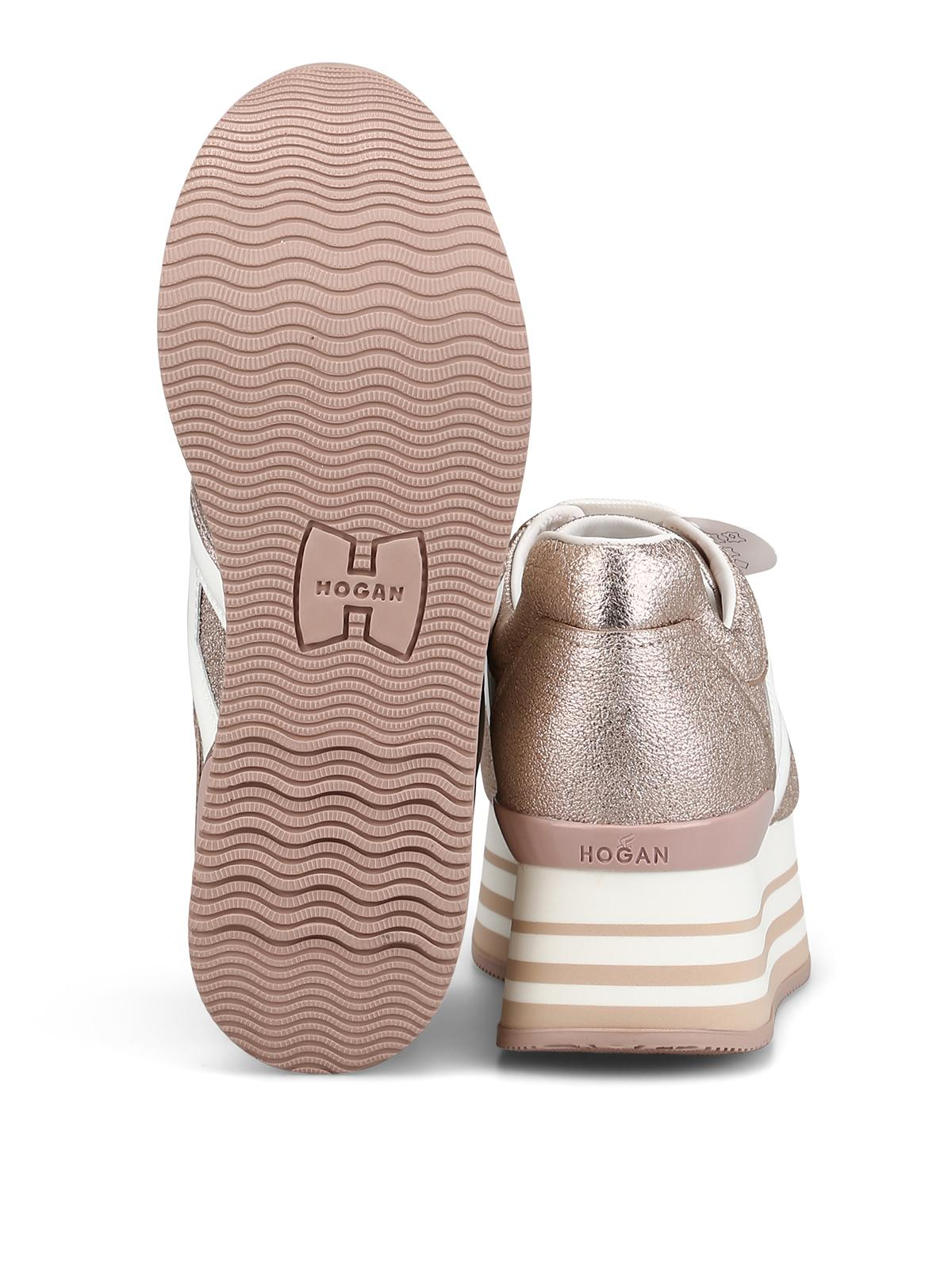 Hogan Maxi H222 Crackle Leather Sneakers in Pink - Lyst