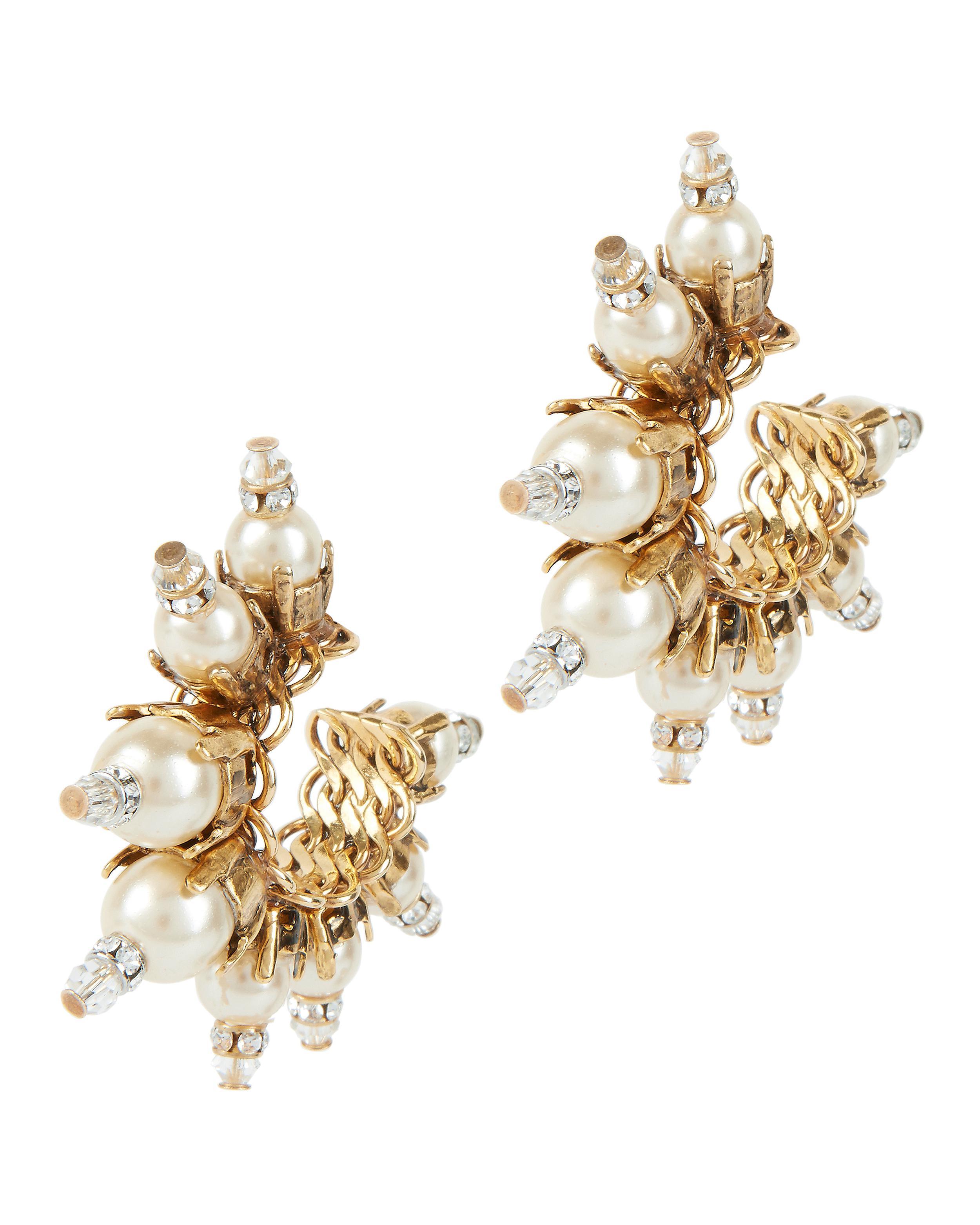 Gold-Plated Pearl Embellished Hoop Earrings Erickson Beamon blIkuFr