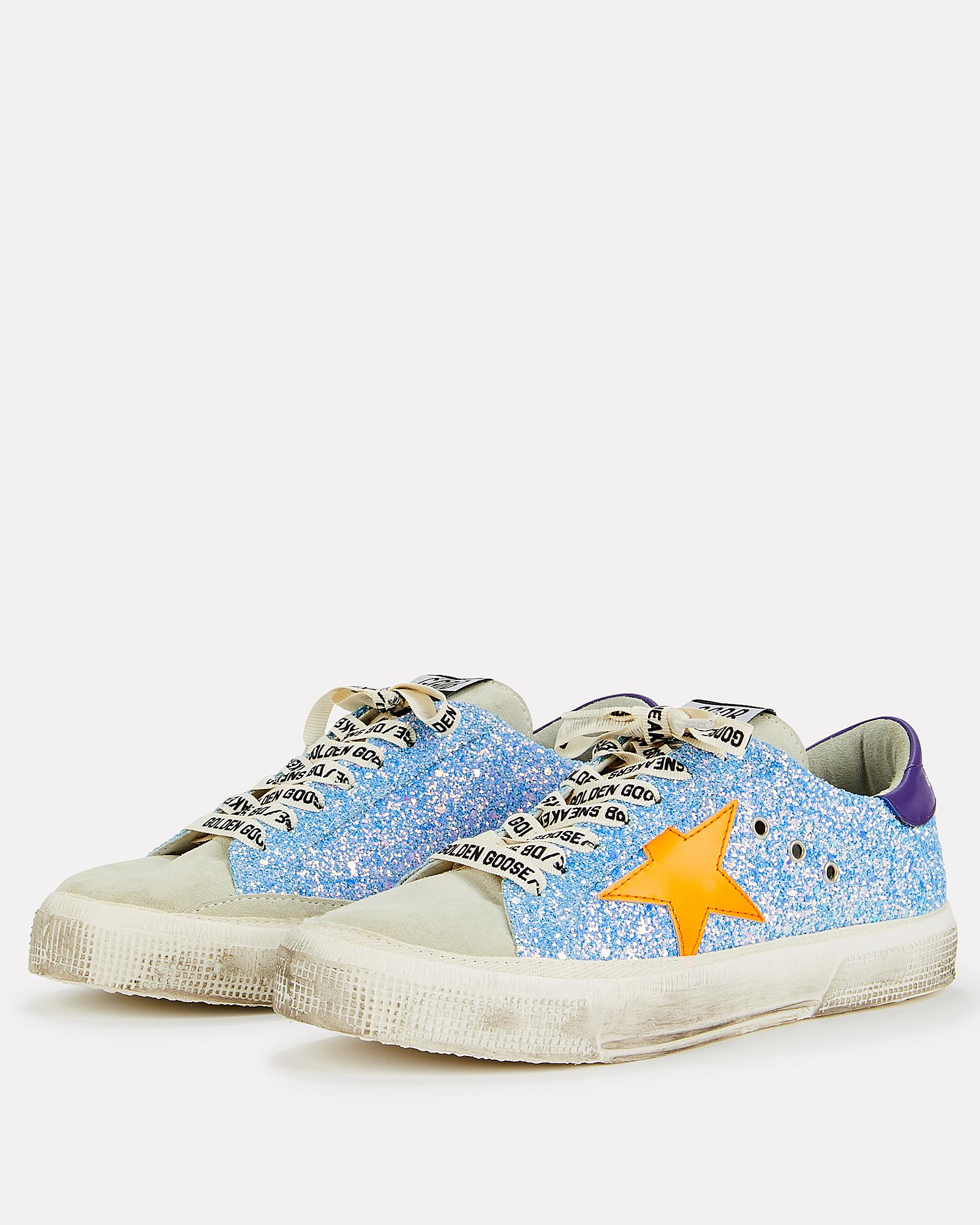 1414caefd15d Golden Goose Deluxe Brand - Blue May Orange Star Glitter Low-top Sneakers -  Lyst. View fullscreen