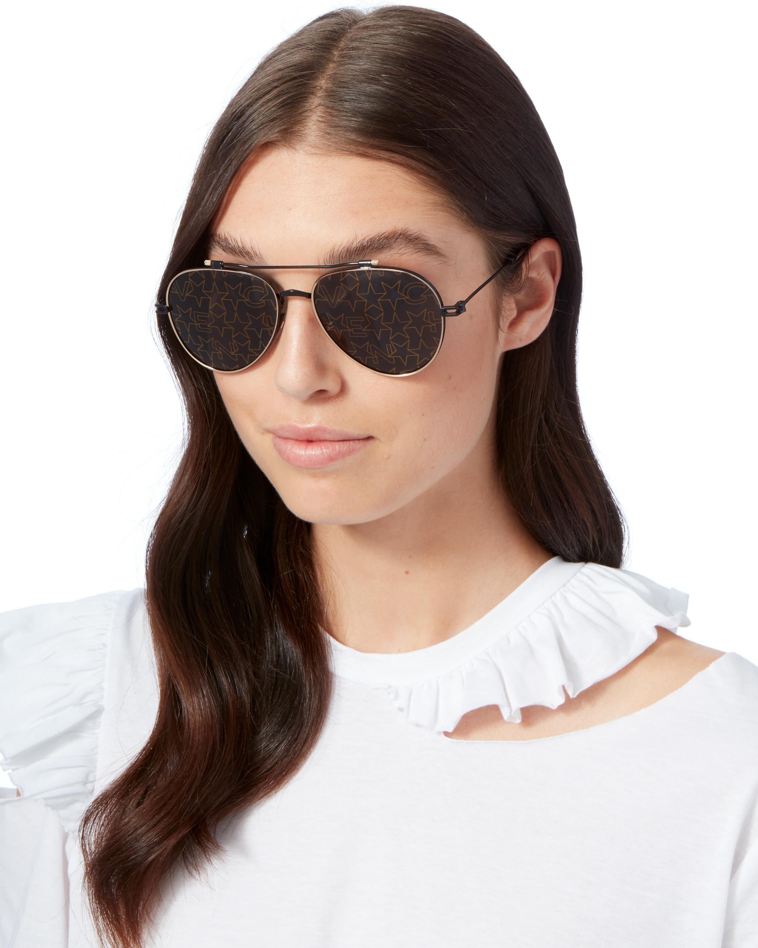 Synthetic Nude Star Aviator Sunglasses