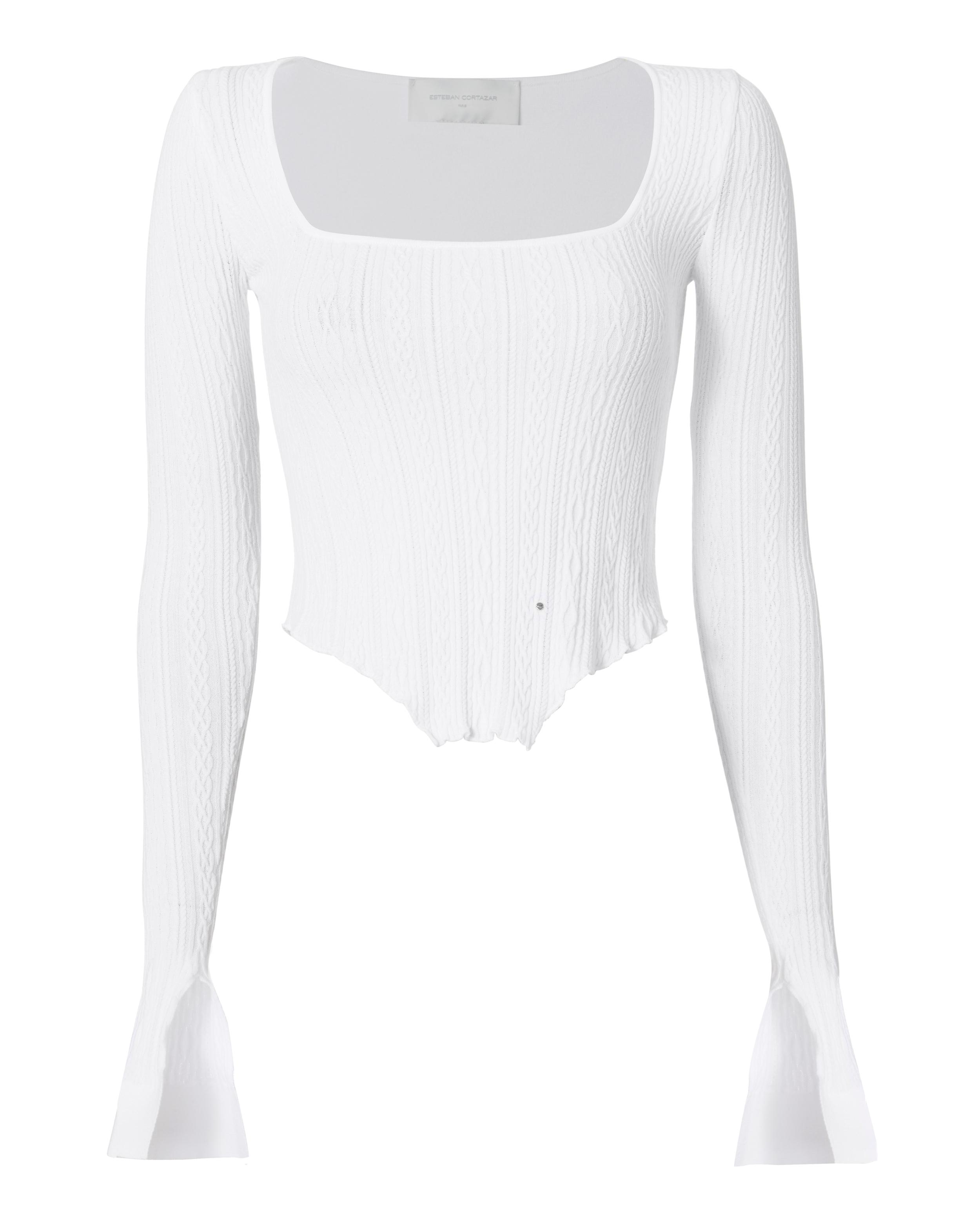 8d13a982fa Lyst - Esteban Cortazar Kira Corset Hem Knit Top in White