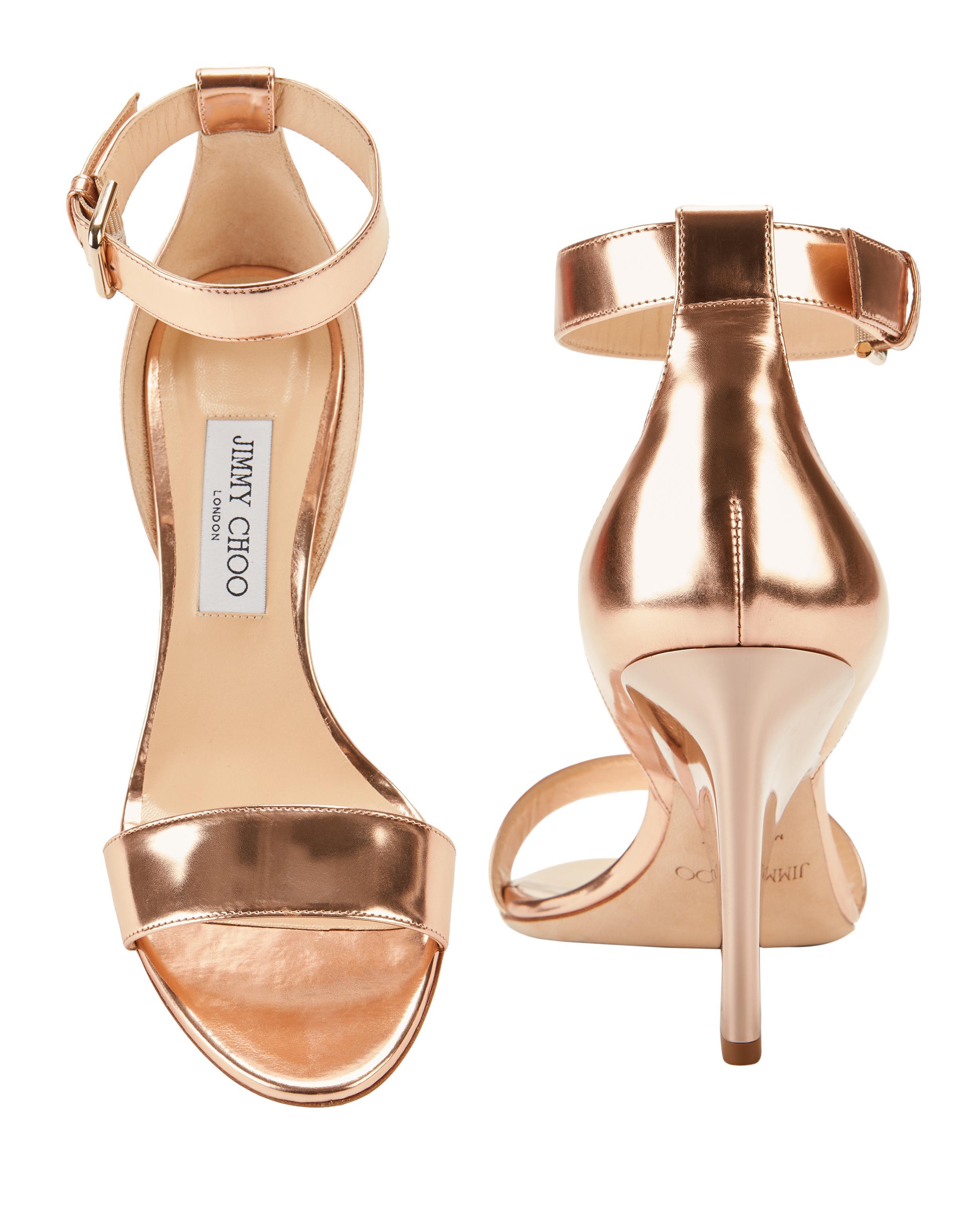 42474335c8bd Lyst - Jimmy Choo Edina Rose Gold Sandals