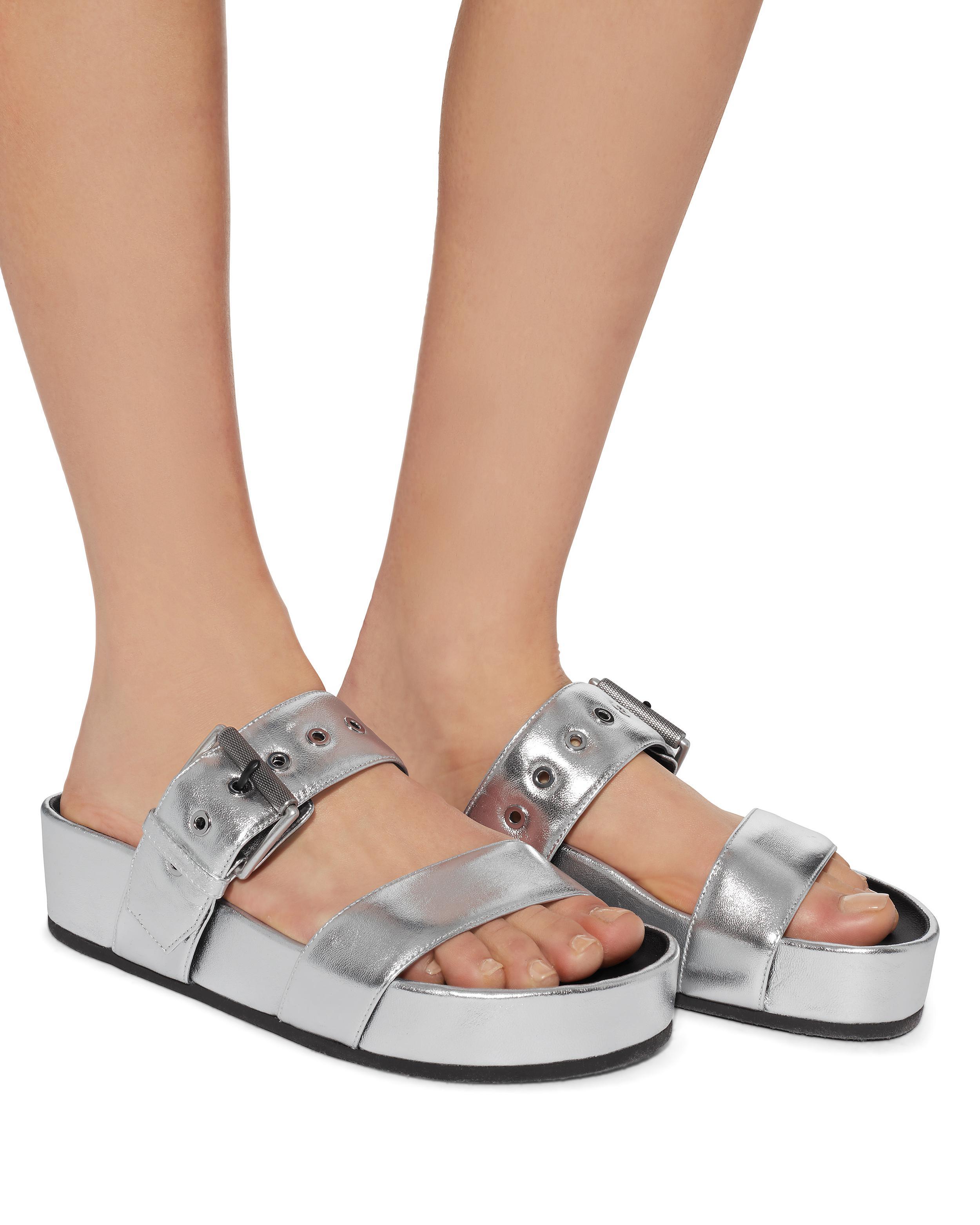cf66188a3524 Lyst - Rag   Bone Evin Silver Leather Platform Sandals in Metallic