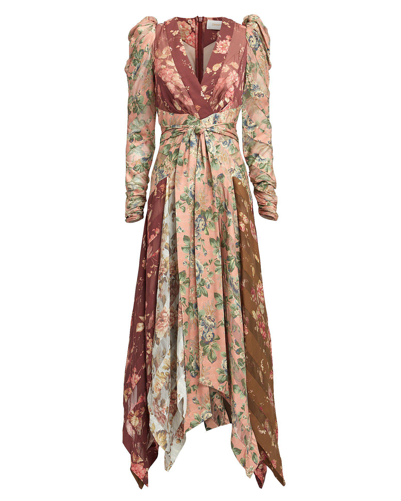 Stylebop Printed Flores Ruffle Silk Unbridled El beige Chiffon Zimmermann Dress CrdoxWQBeE