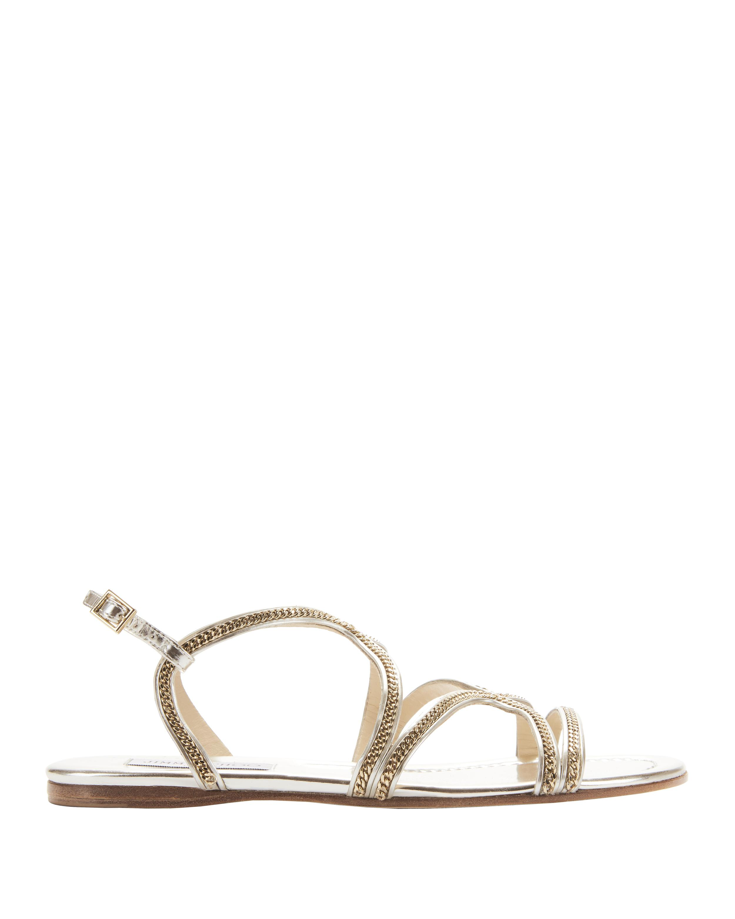 fea184ad36c74d Lyst - Jimmy Choo Nickel Strappy Flat Sandal in Metallic