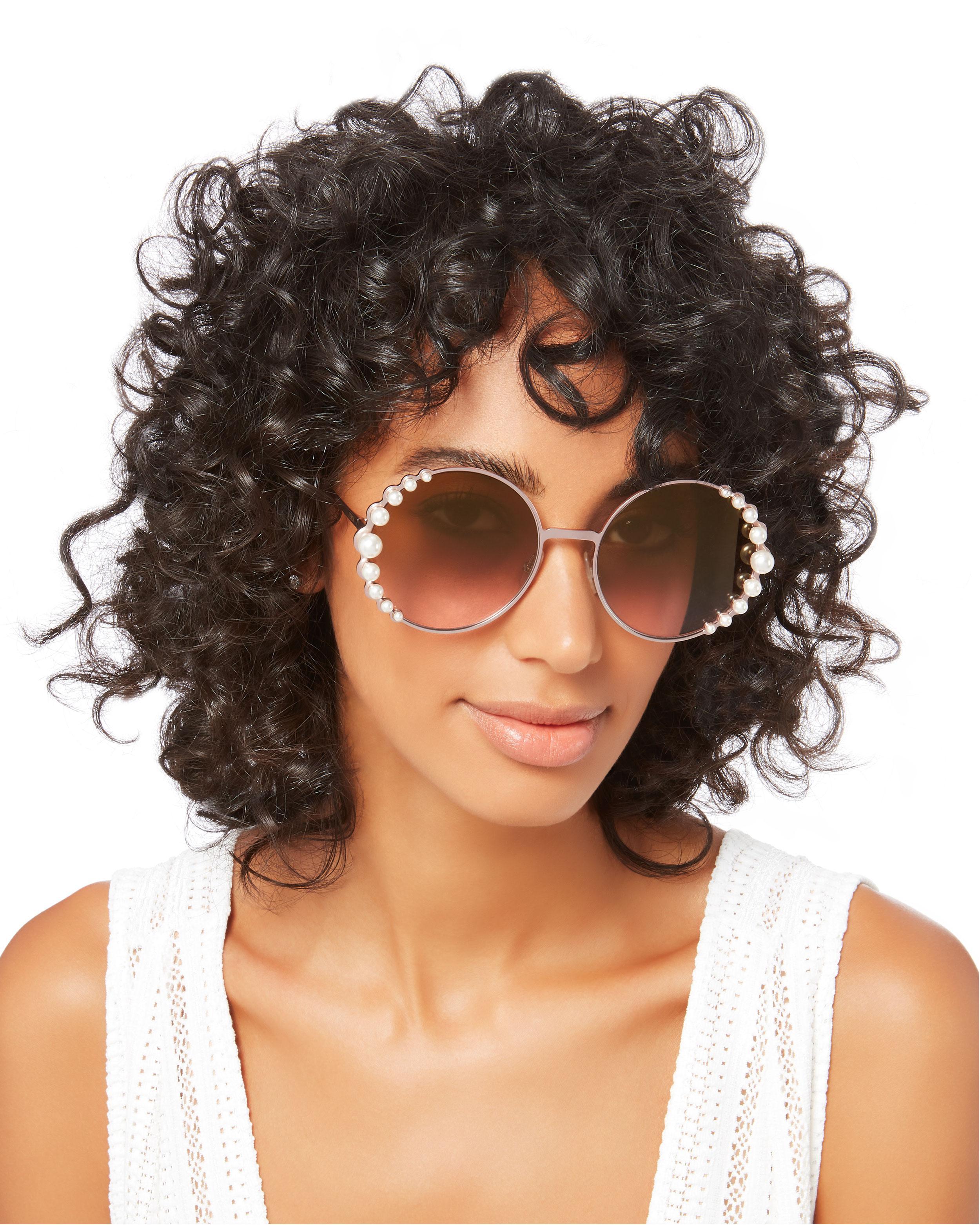 24600b36828a Lyst - Fendi Pearl Trim Round Sunglasses in Pink
