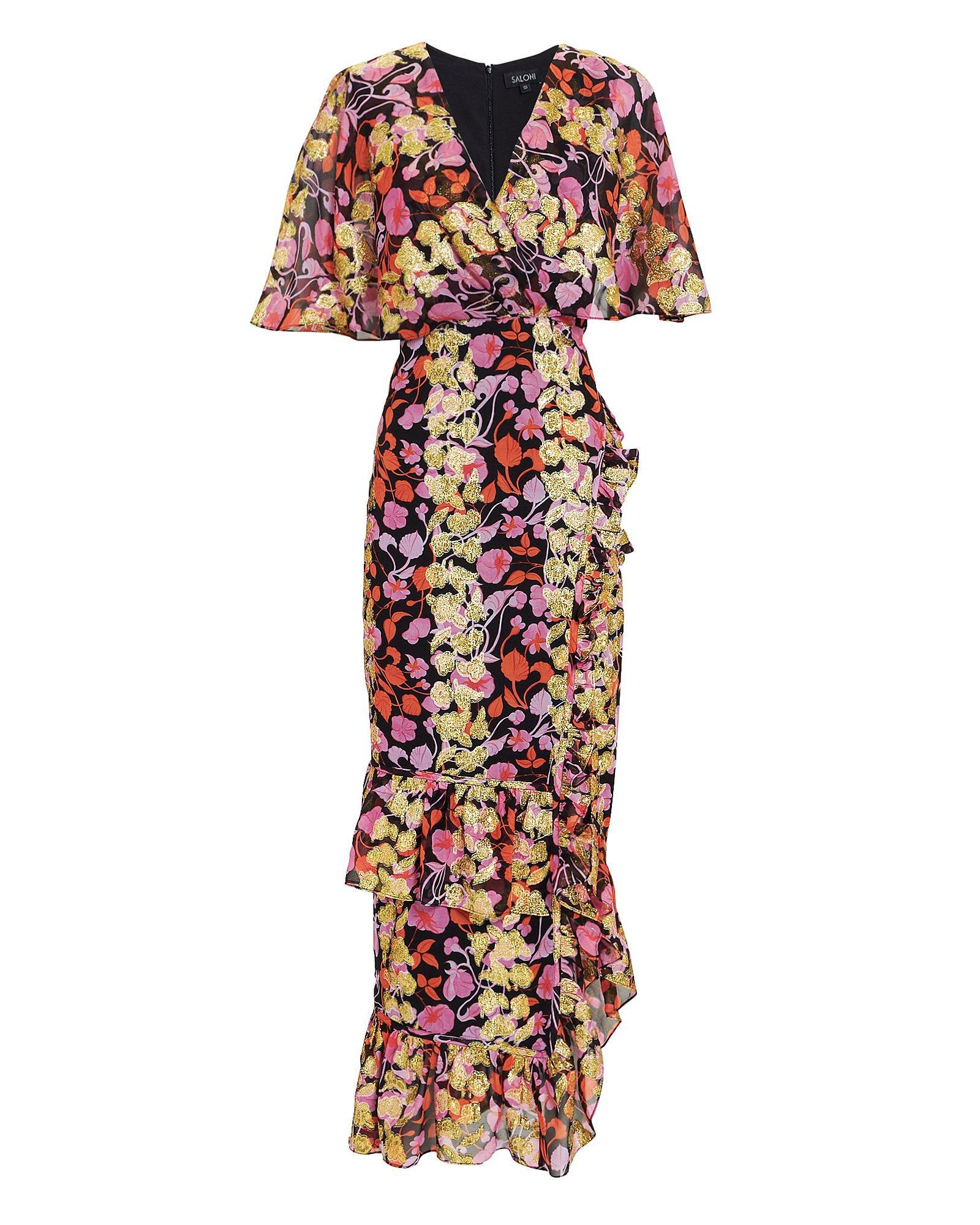 5426ccf769b0 Saloni - Multicolor Cape Overlay Metallic Floral Midi Dress - Lyst. View  fullscreen