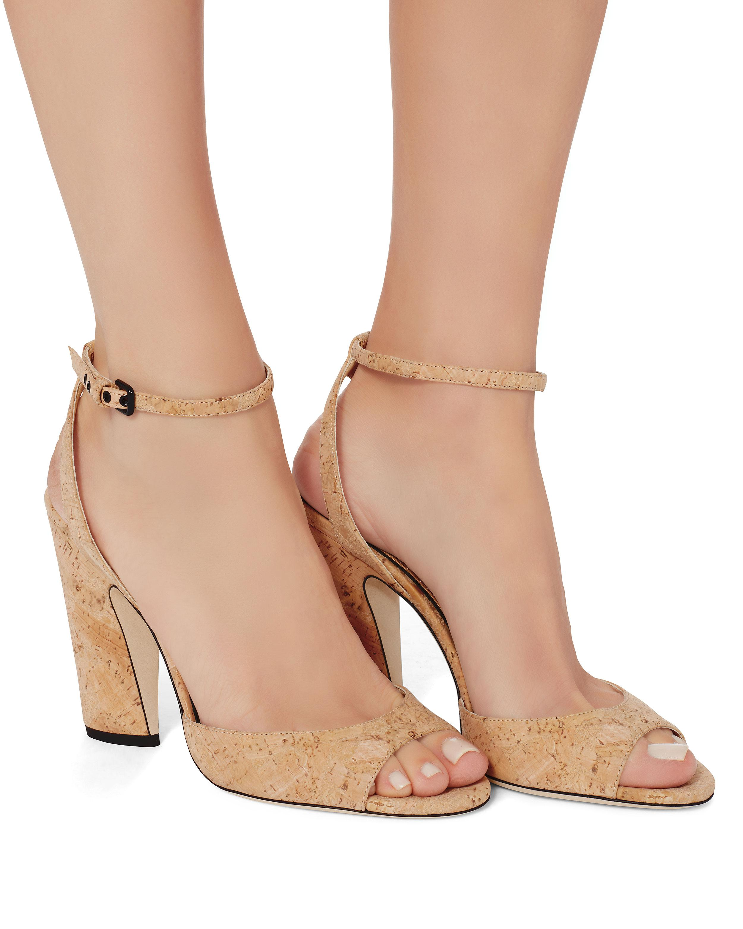 c512f06df732 Lyst - Jimmy Choo Miranda Cork Ankle Strap Heels in Natural