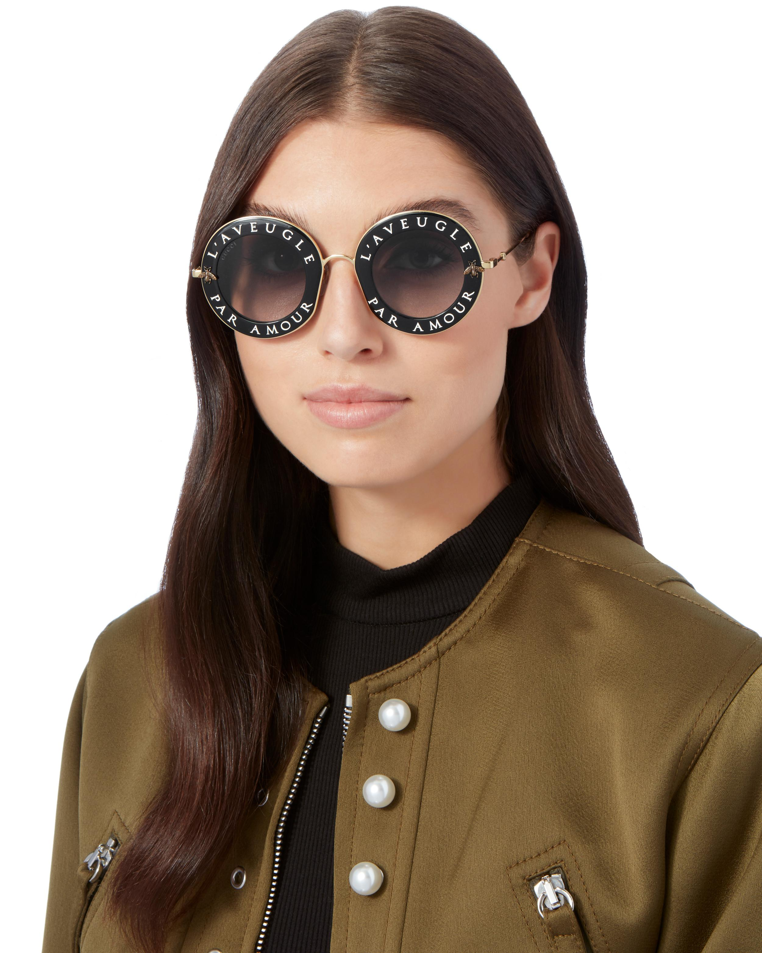 2fecde77aa Lyst - Gucci Blind For Love Round Sunglasses in Black
