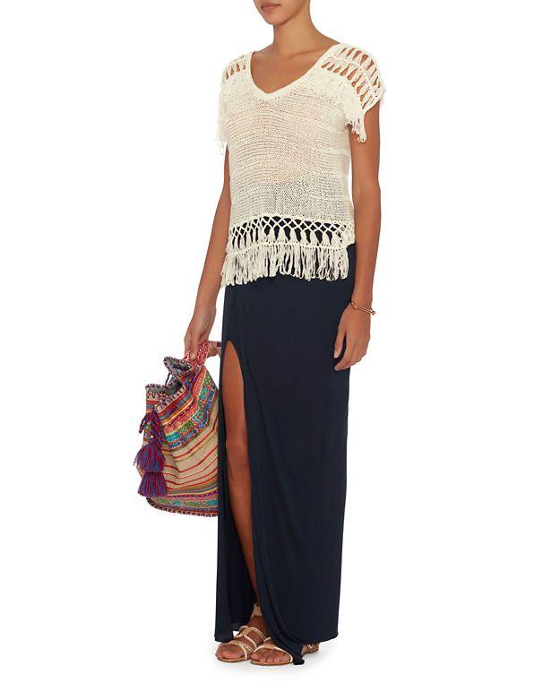 enza costa exclusive maxi wrap skirt navy in black lyst