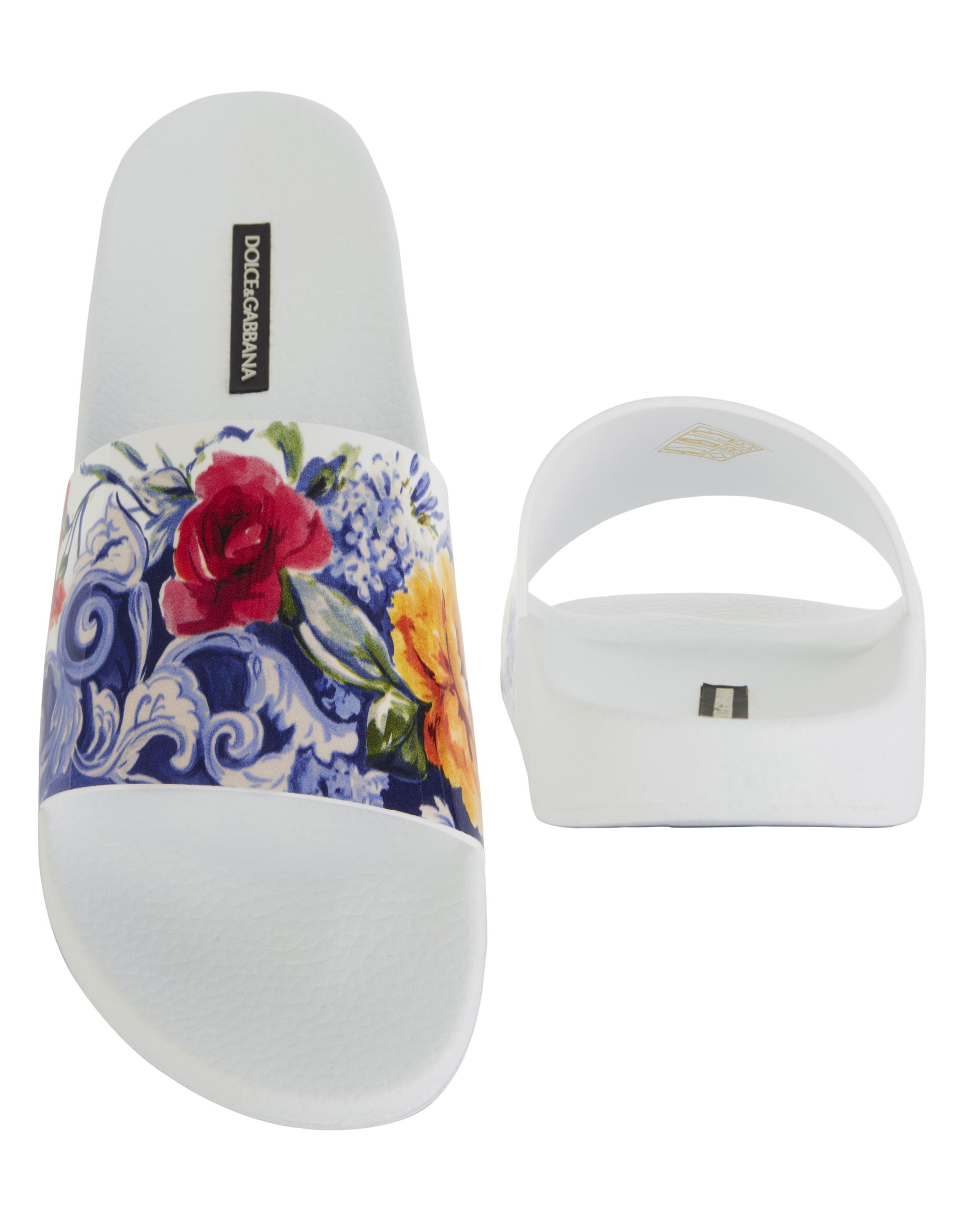 31906394322f Lyst - Dolce   Gabbana White Floral Pool Slides in White