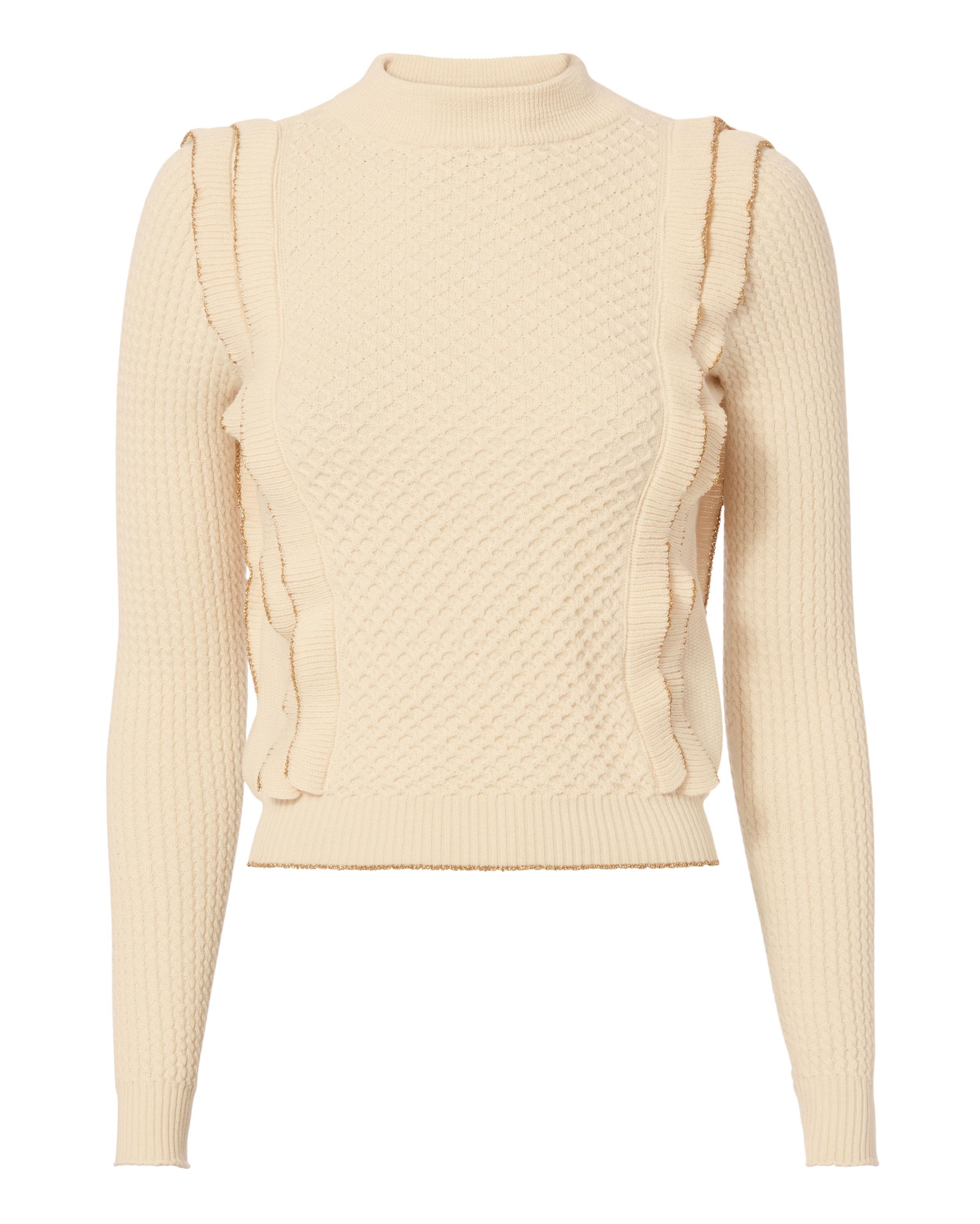 Philosophy di lorenzo serafini Gold Piping Ruffle Knit Sweater in ...