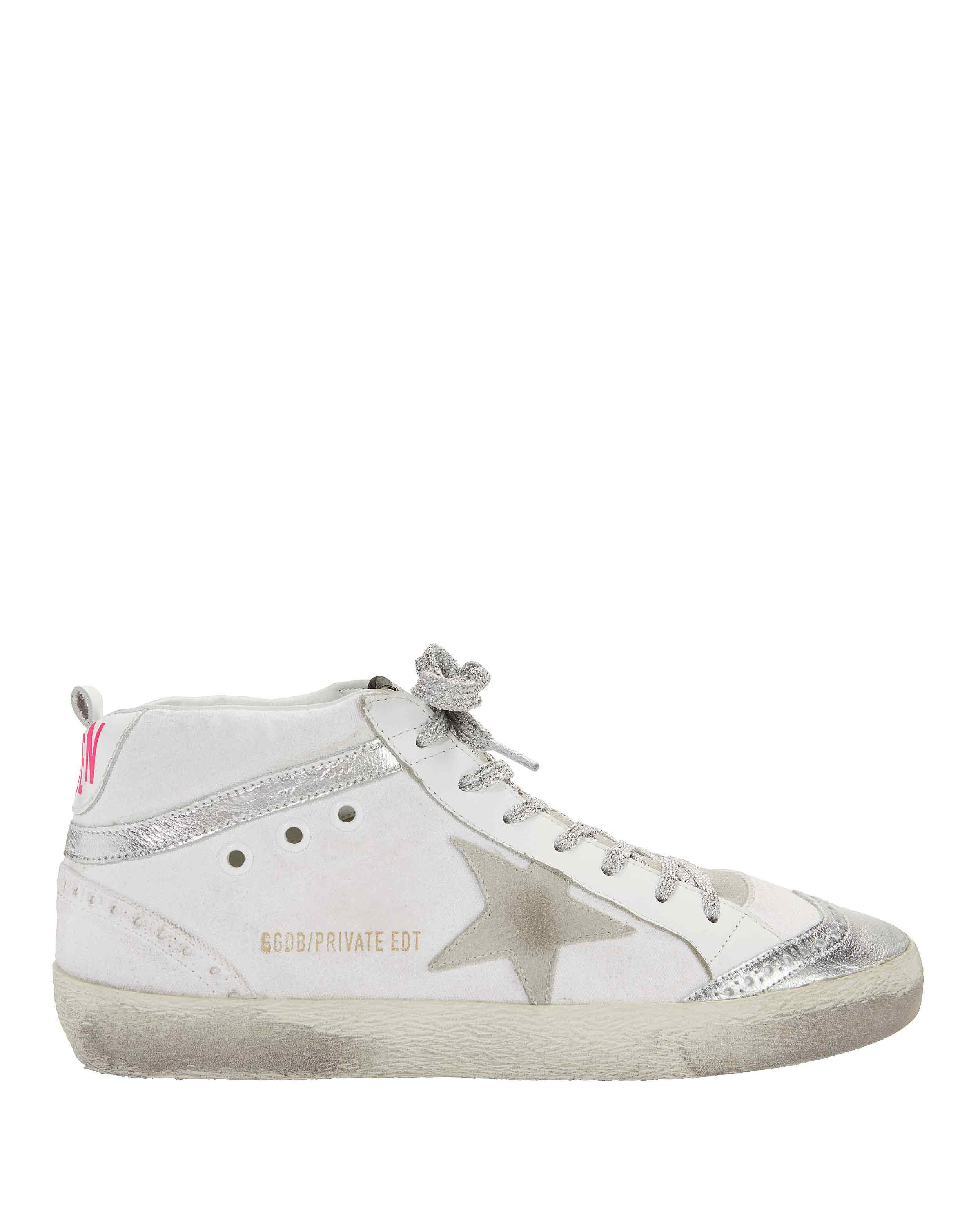 0cd7aaece55bd Lyst - Golden Goose Deluxe Brand Mid Star Pink Back Leather Sneakers ...