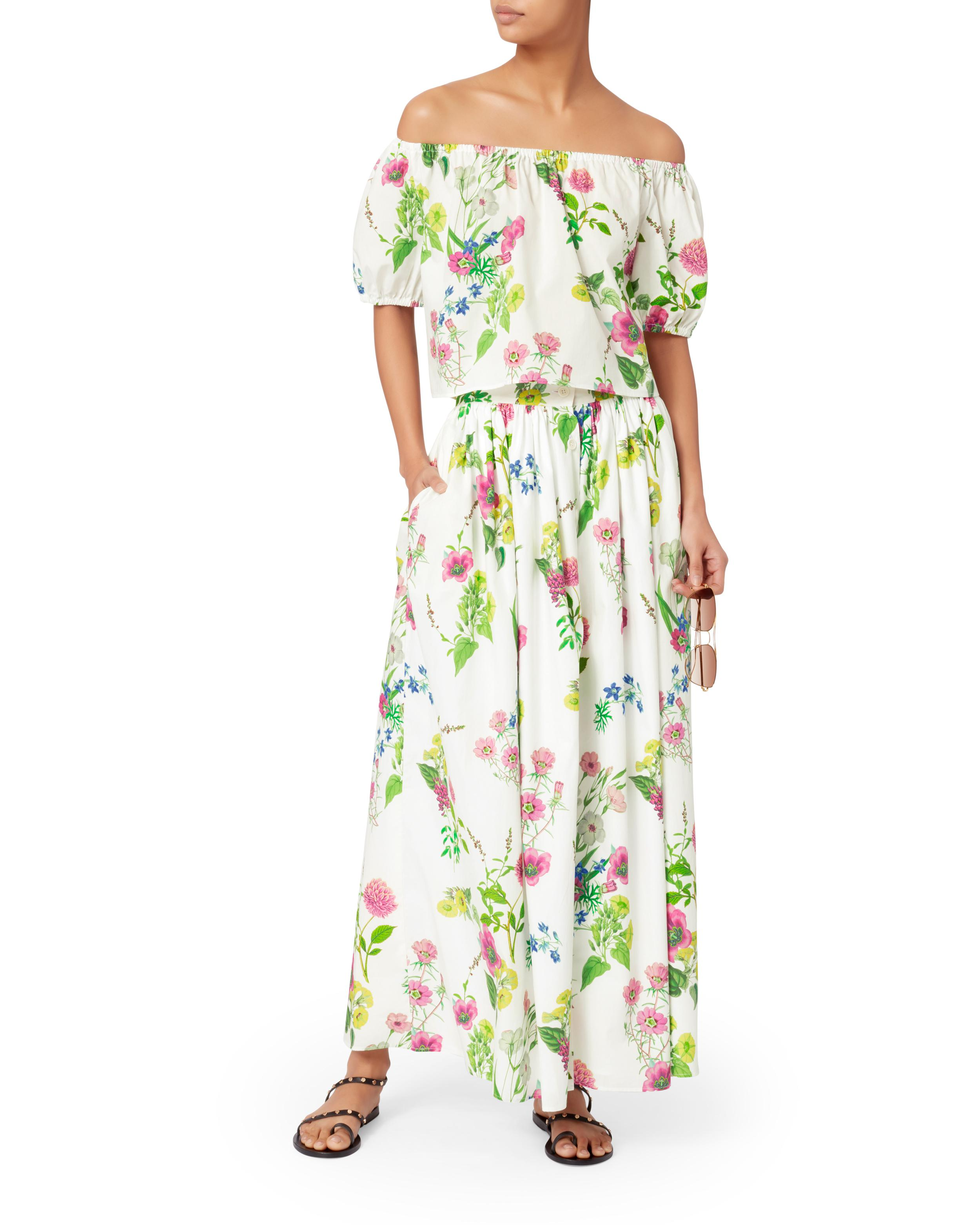3379b94f9c2c3c MDS Stripes Floral Off Shoulder Crop Top in Green - Save 60% - Lyst