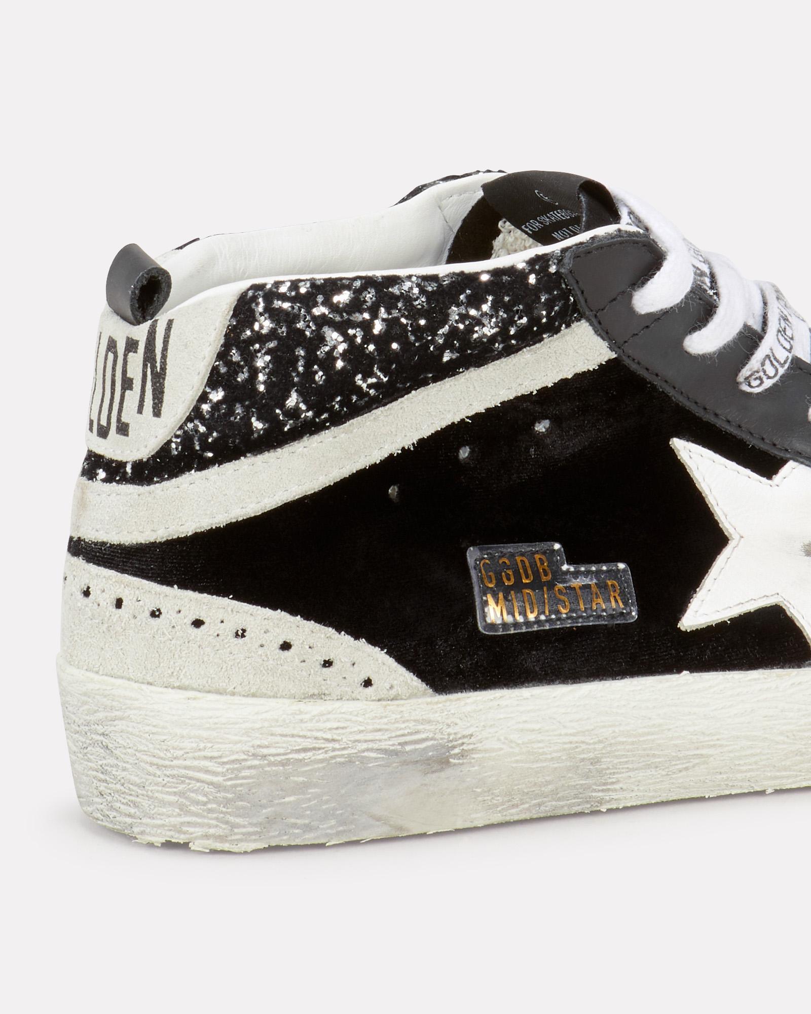 Mid Star Velvet Sneakers in Black