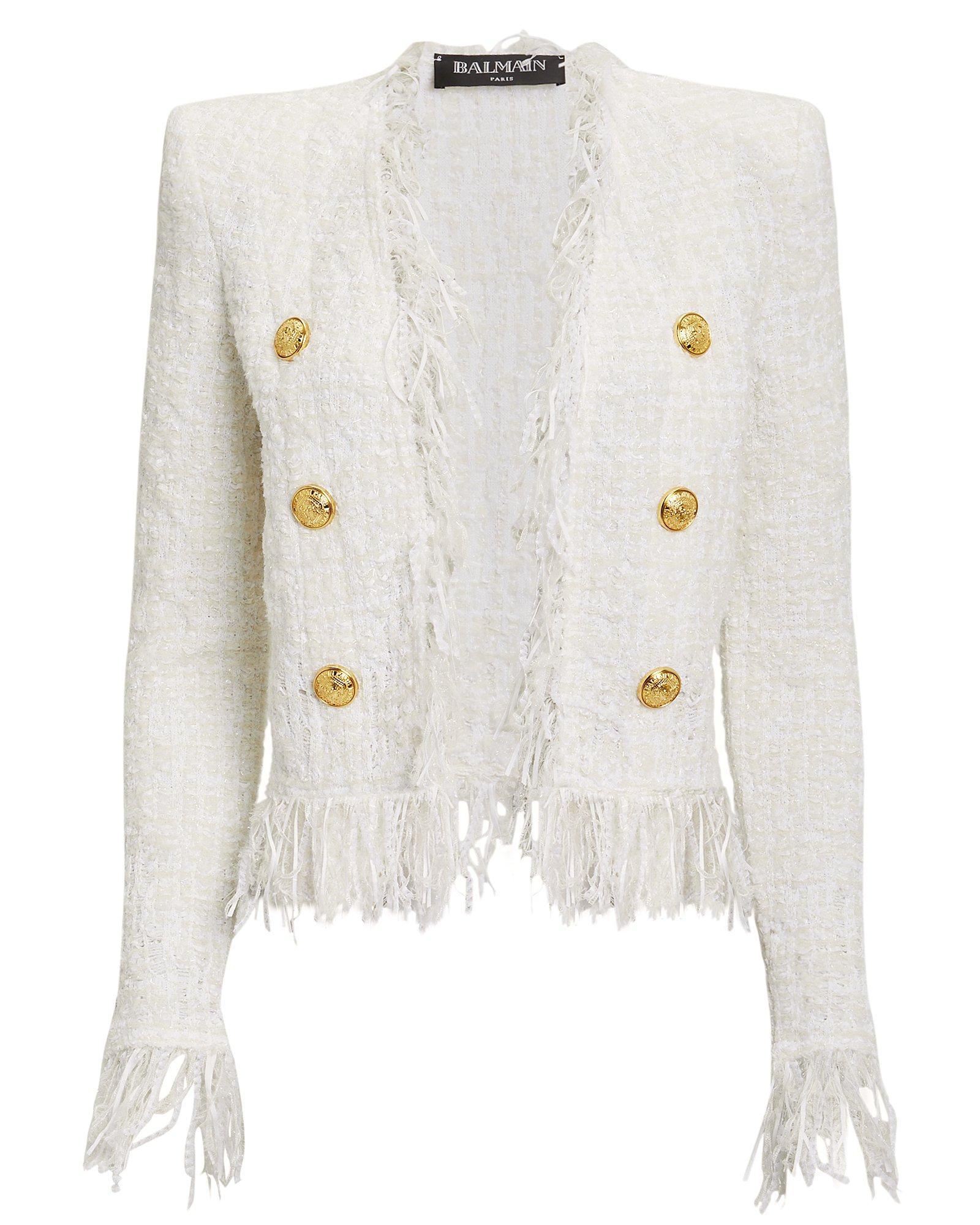 dd9d1e02f7c Balmain - White Tweed Fringe Jacket - Lyst. View fullscreen