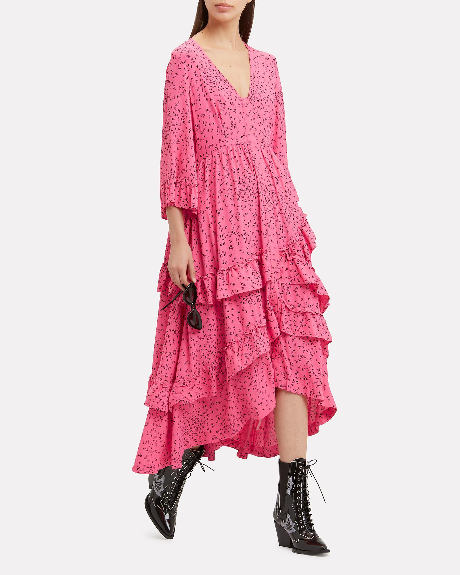 13677f2cf6 Ganni Barra Crepe Ruffle Maxi Dress in Pink - Lyst