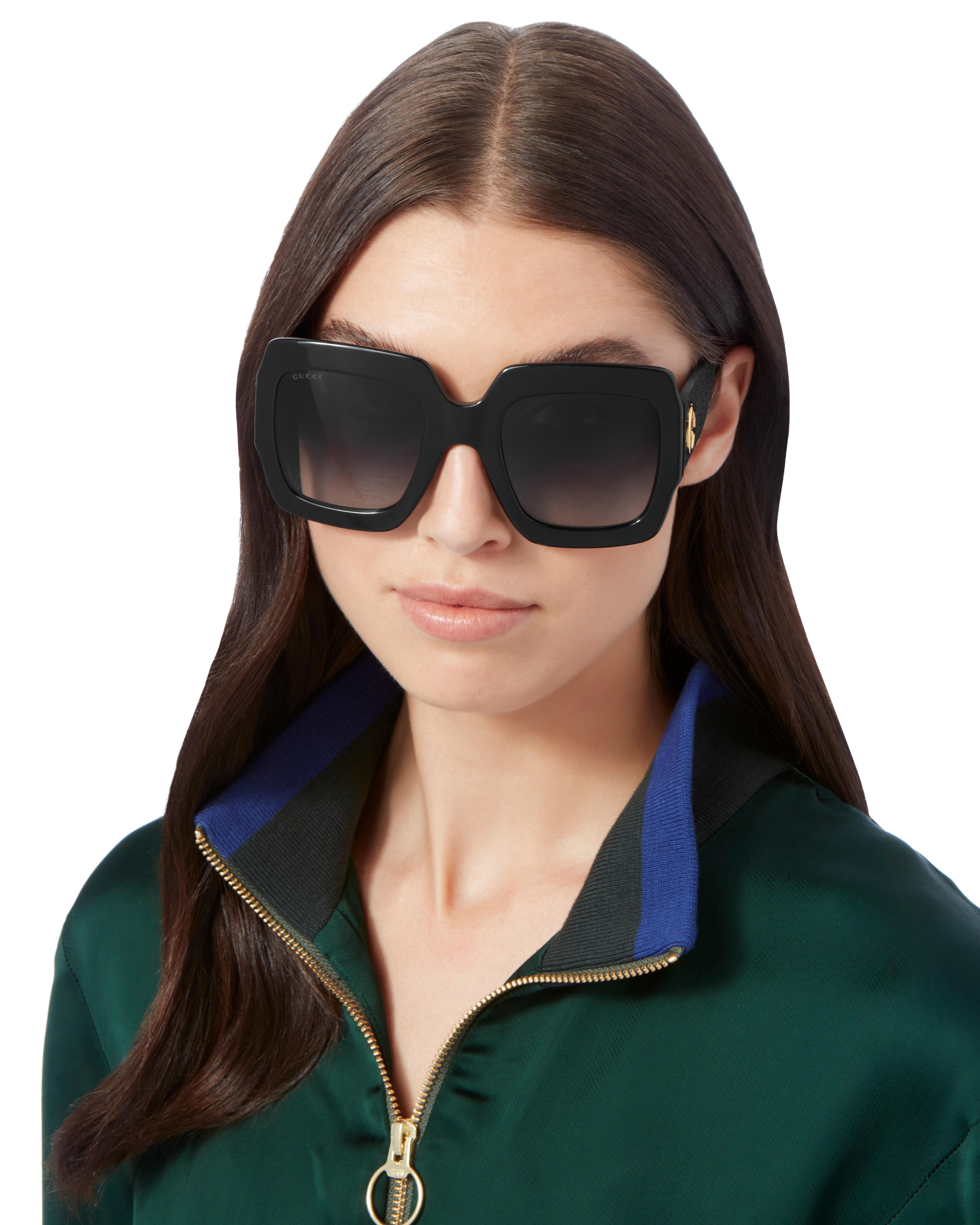 56bf6a8e5b Lyst - Gucci Oversized Glitter Square Sunglasses in Black