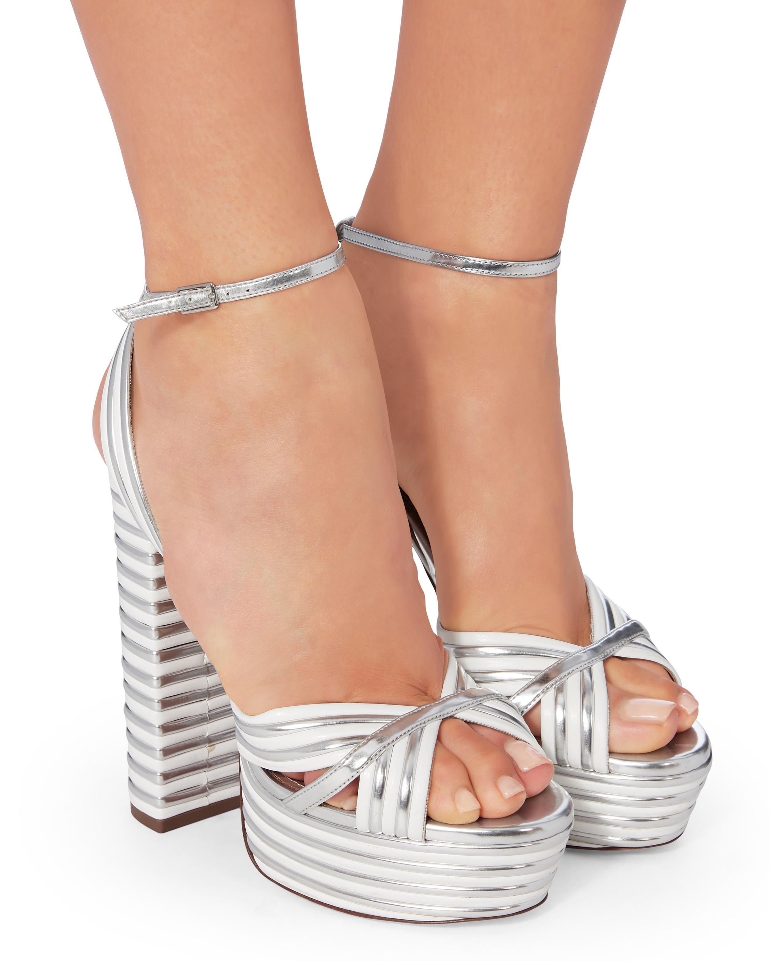 1a2d5bb365e Lyst - Aquazzura Sundance Silver Platform Sandals in White