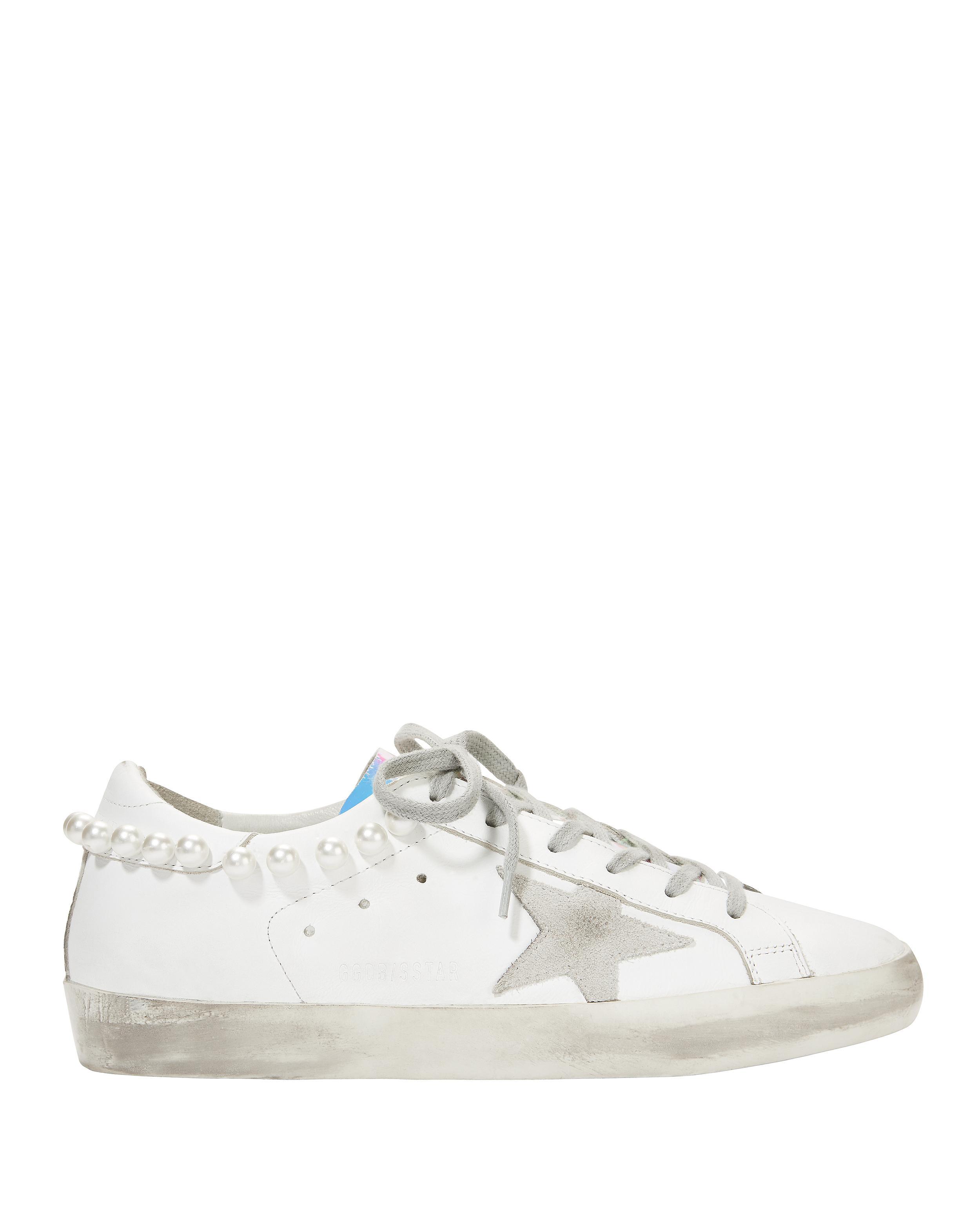 Golden Goose Deluxe Brand. Women's White Superstar Pearl Hologram Sneakers
