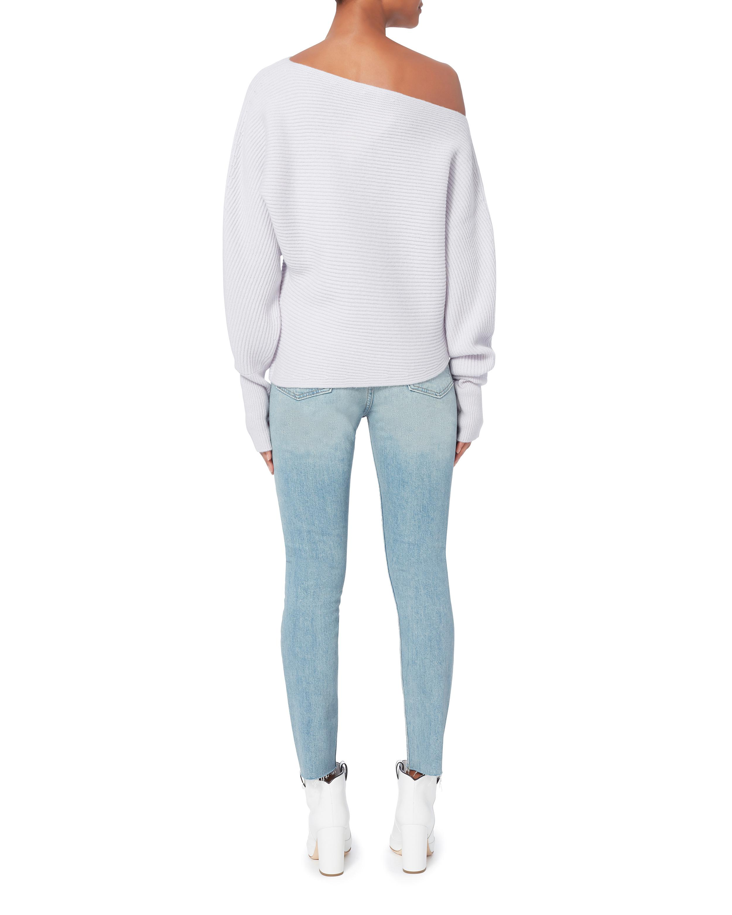 59f28e8443 Lyst - Intermix Jacqueline Off Shoulder Light Blue Sweater in Blue