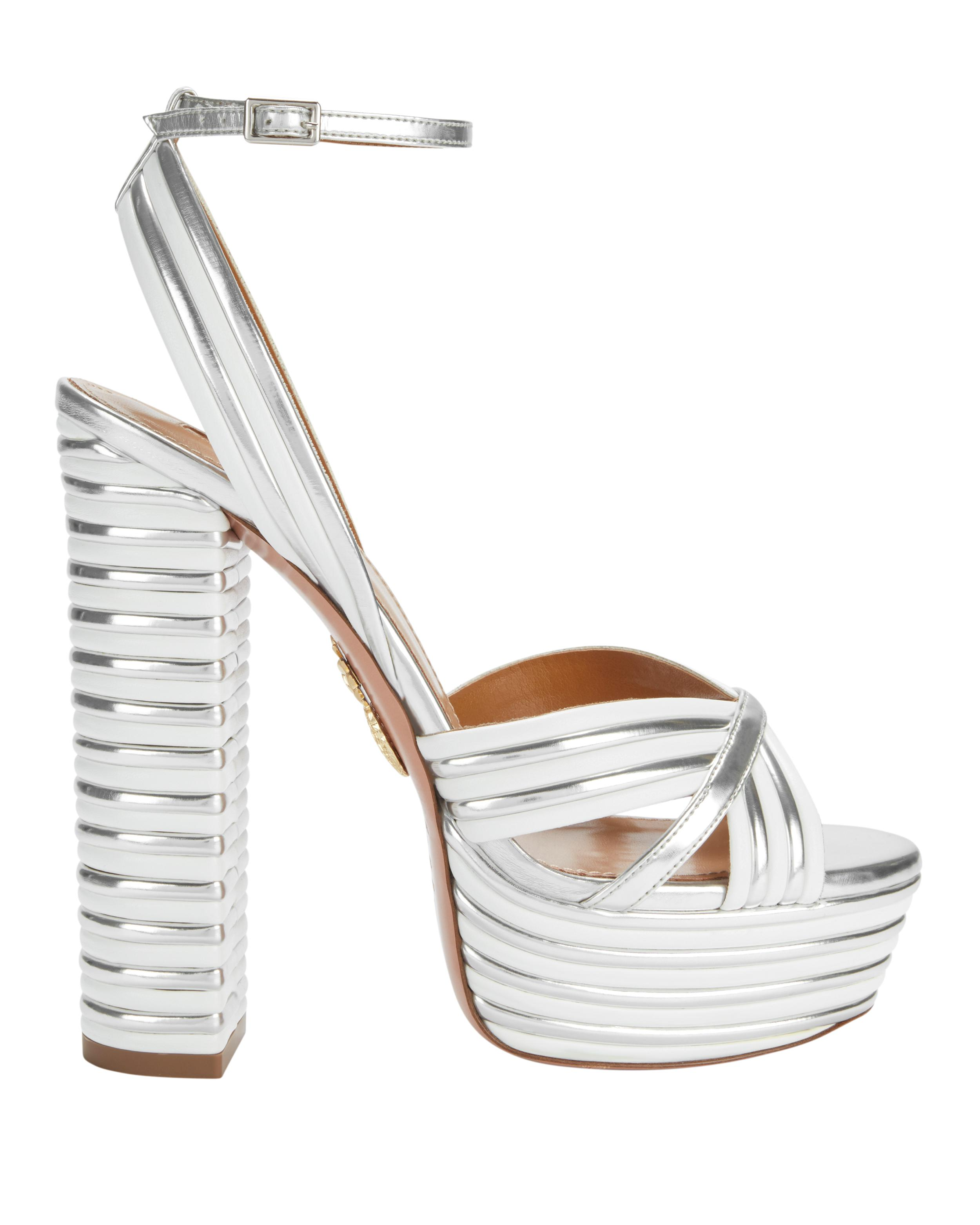 4314466b575 Lyst - Aquazzura Sundance Silver Platform Sandals in Metallic