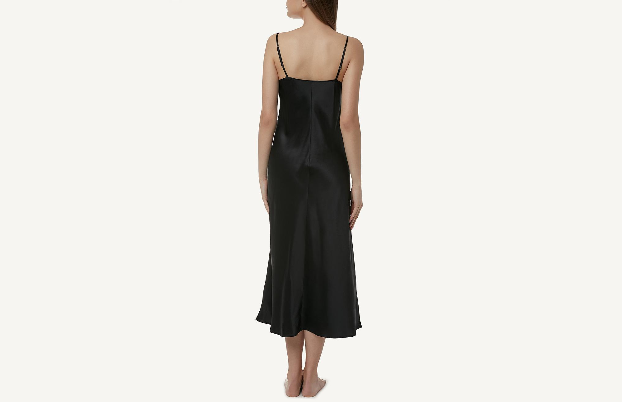 dbb109bae463 Intimissimi Midi-length Slip In Silk in Black - Lyst