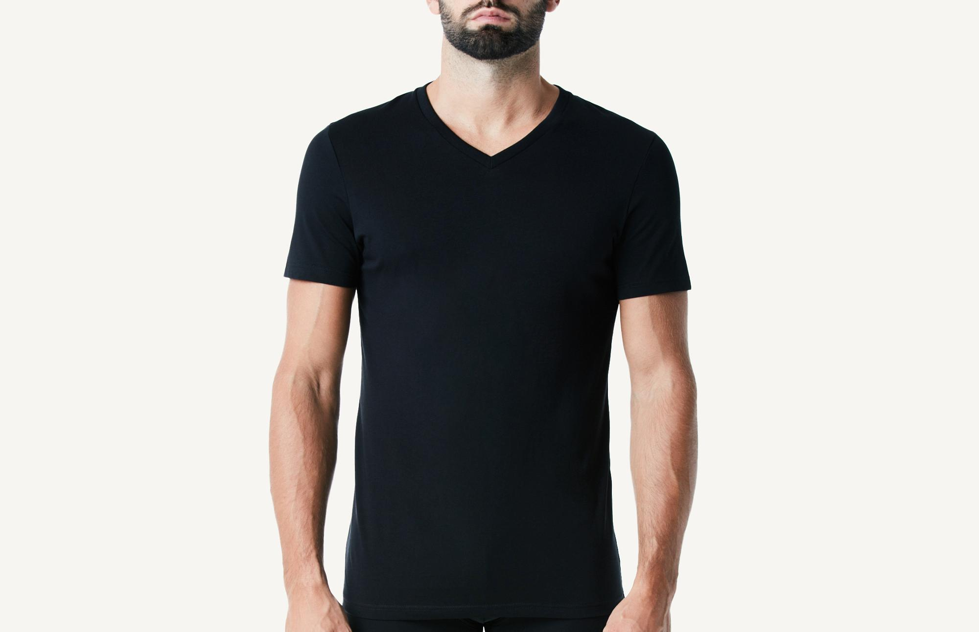 Intimissimi Mens Short Sleeve V-Neck T Shirt in Supima Cotton