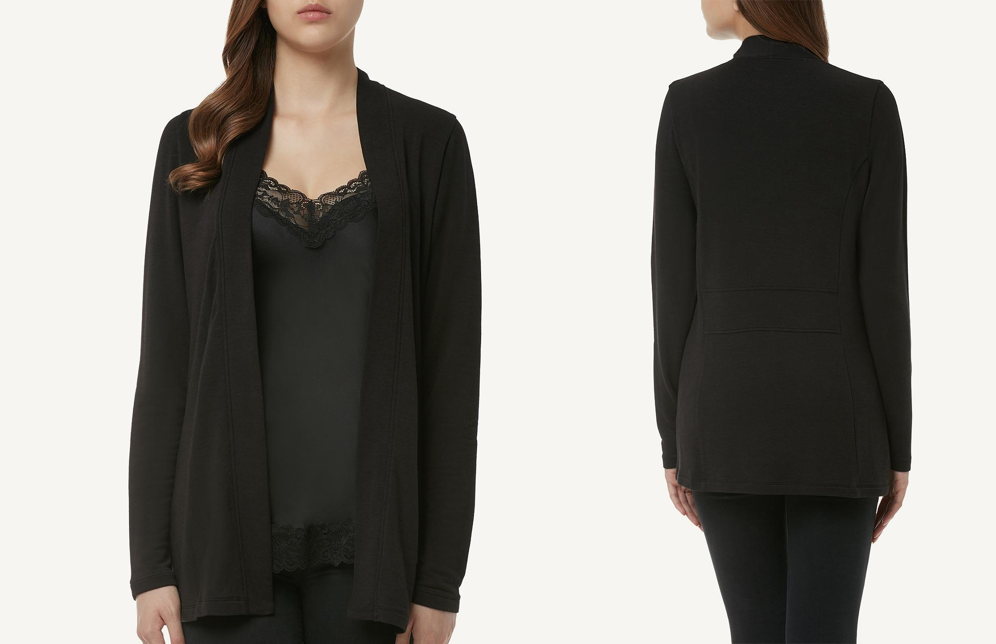 buy online b706f c1328 Intimissimi Long-sleeve Modal-cashmere Cardigan in Black - Lyst